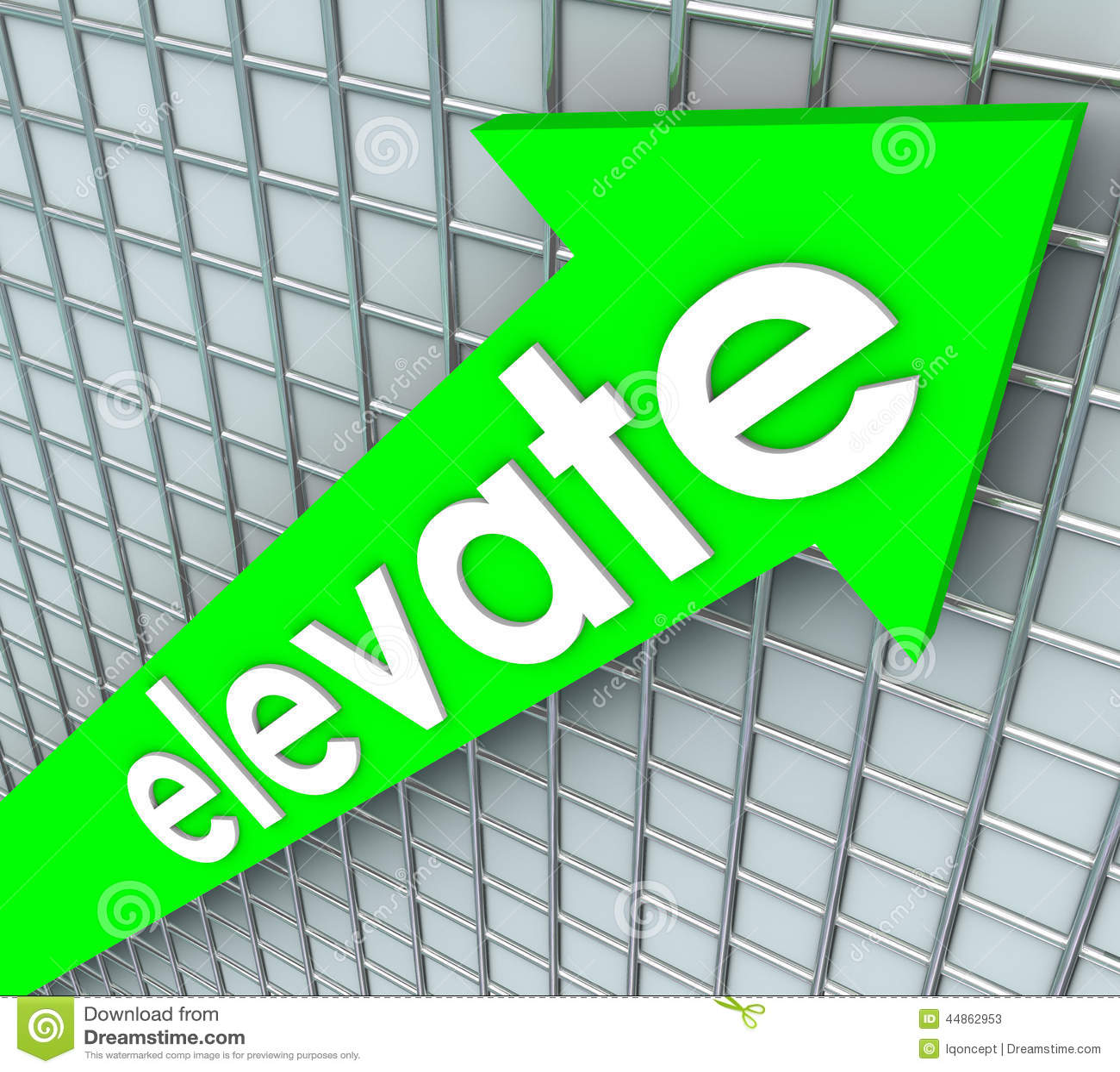 Elevate Word Green Arrow Rising Uplifting Higher Improvement Stock ...