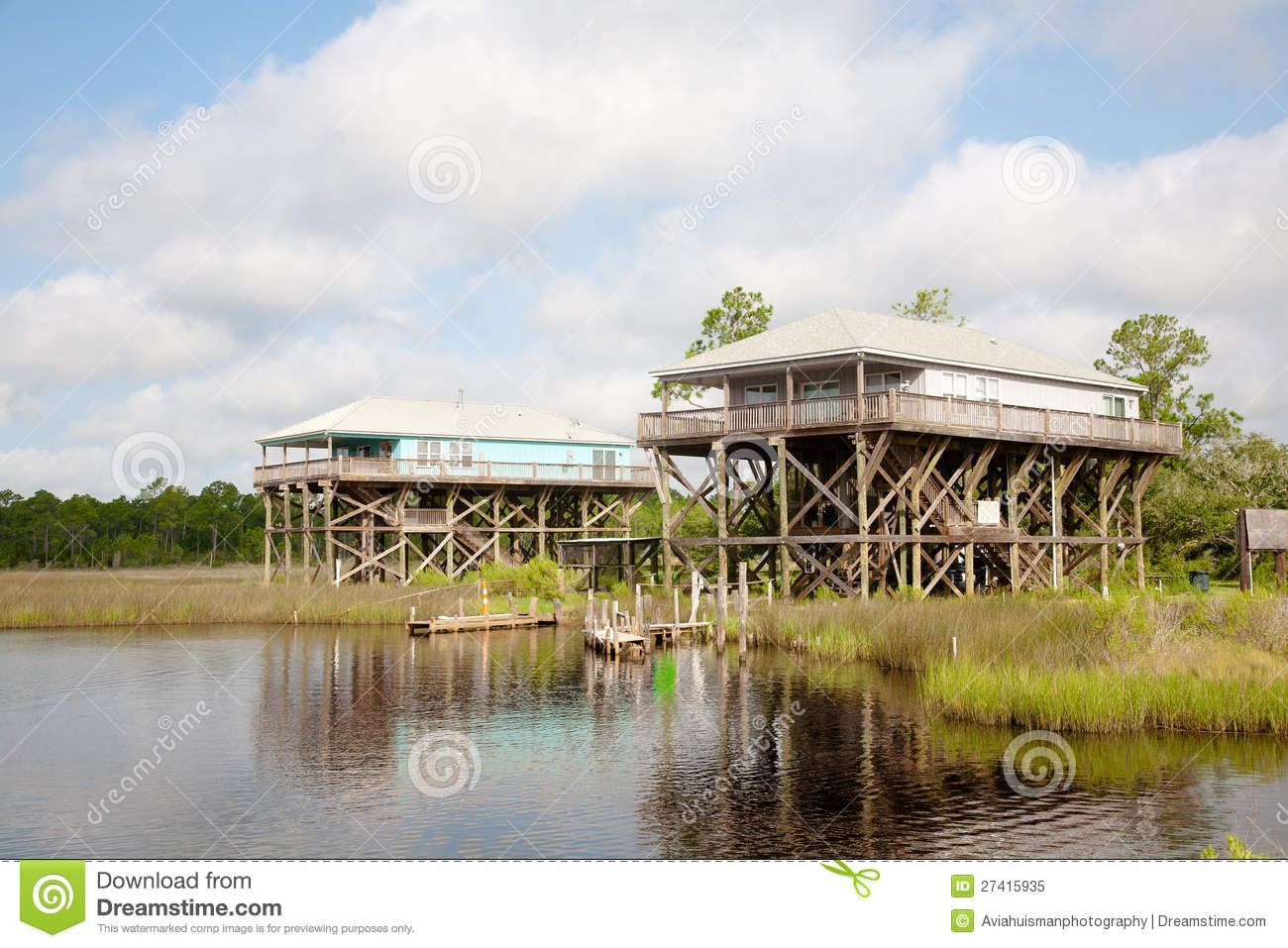 Elevated Waterfront Home Royalty Free Stock Photo Image