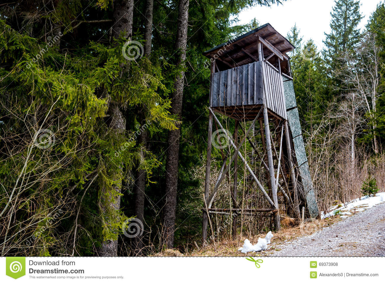 Elevated wooden platform stock photo image 69373908 for Deer hunting platforms