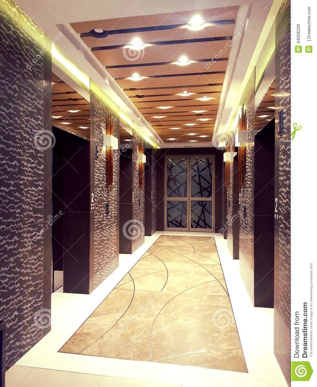 Stunning Staircase And Elevator Design Ideas: Elevator Hallway Stock Image. Image Of Stunning, Lifts