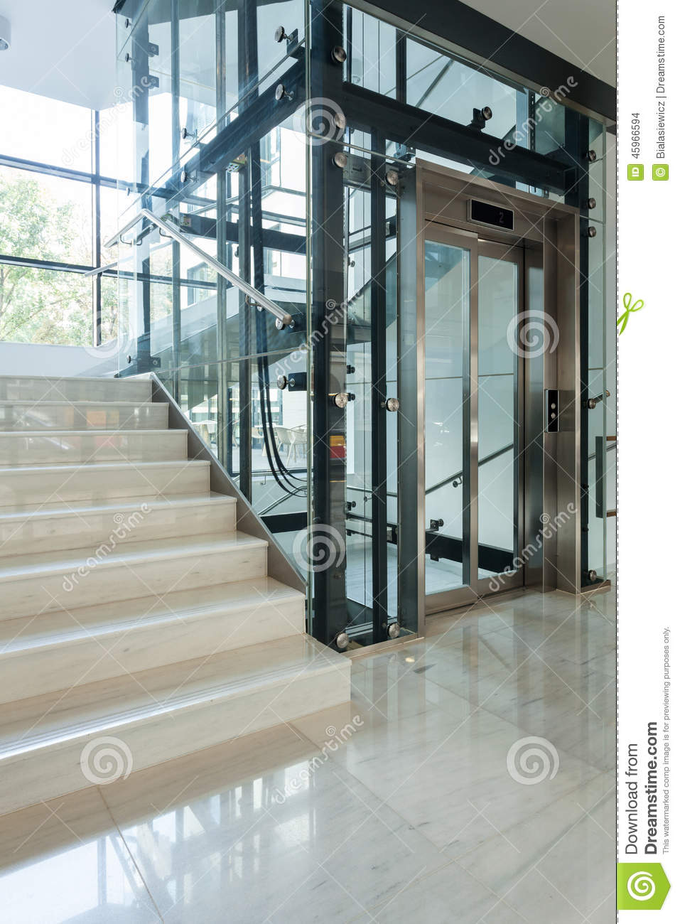 Elevator Next To Staircase Stock Photo Image 45966594