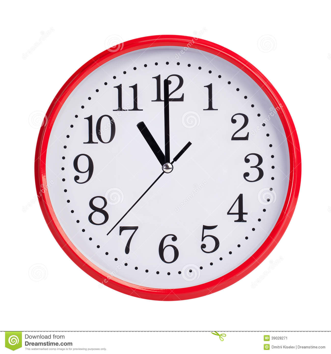 Eleven O Clock On A Round Dial Stock Photo Image 39028271