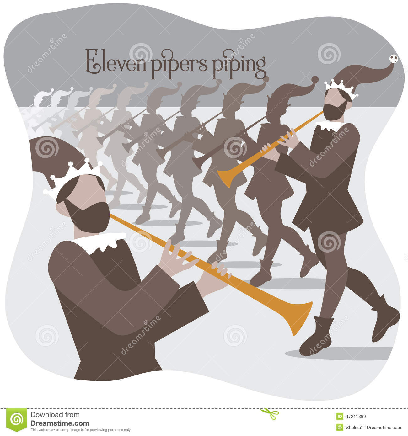 Eleven Pipers Piping Twelve Days Of Christmas Stock Vector - Image ...