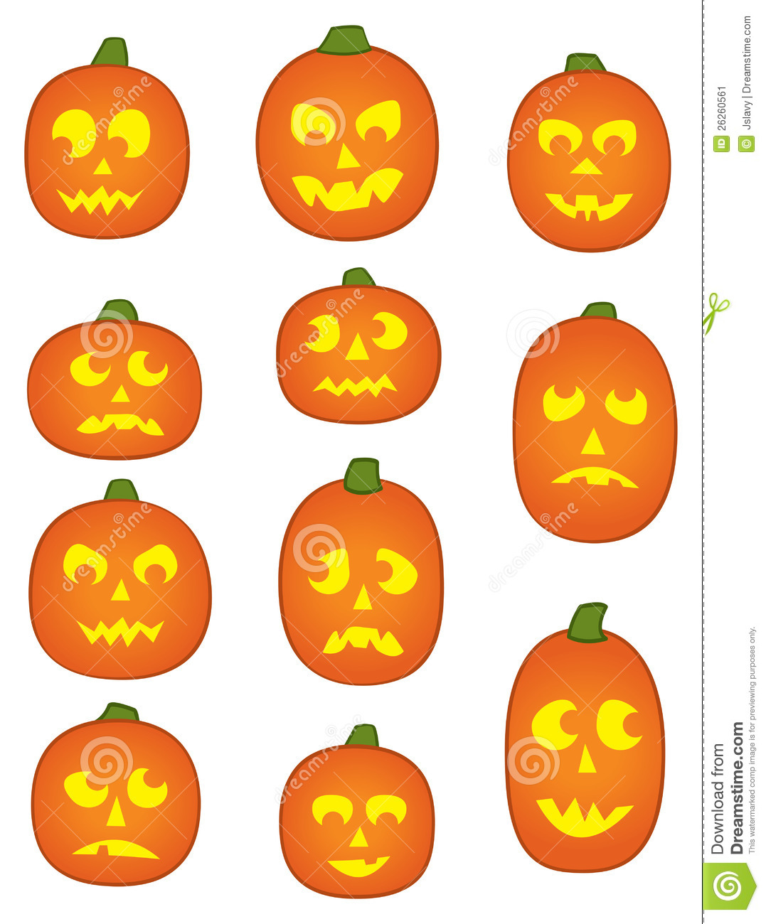 eleven pumpkin faces stock vector image of pumpkin scared 26260561. Black Bedroom Furniture Sets. Home Design Ideas