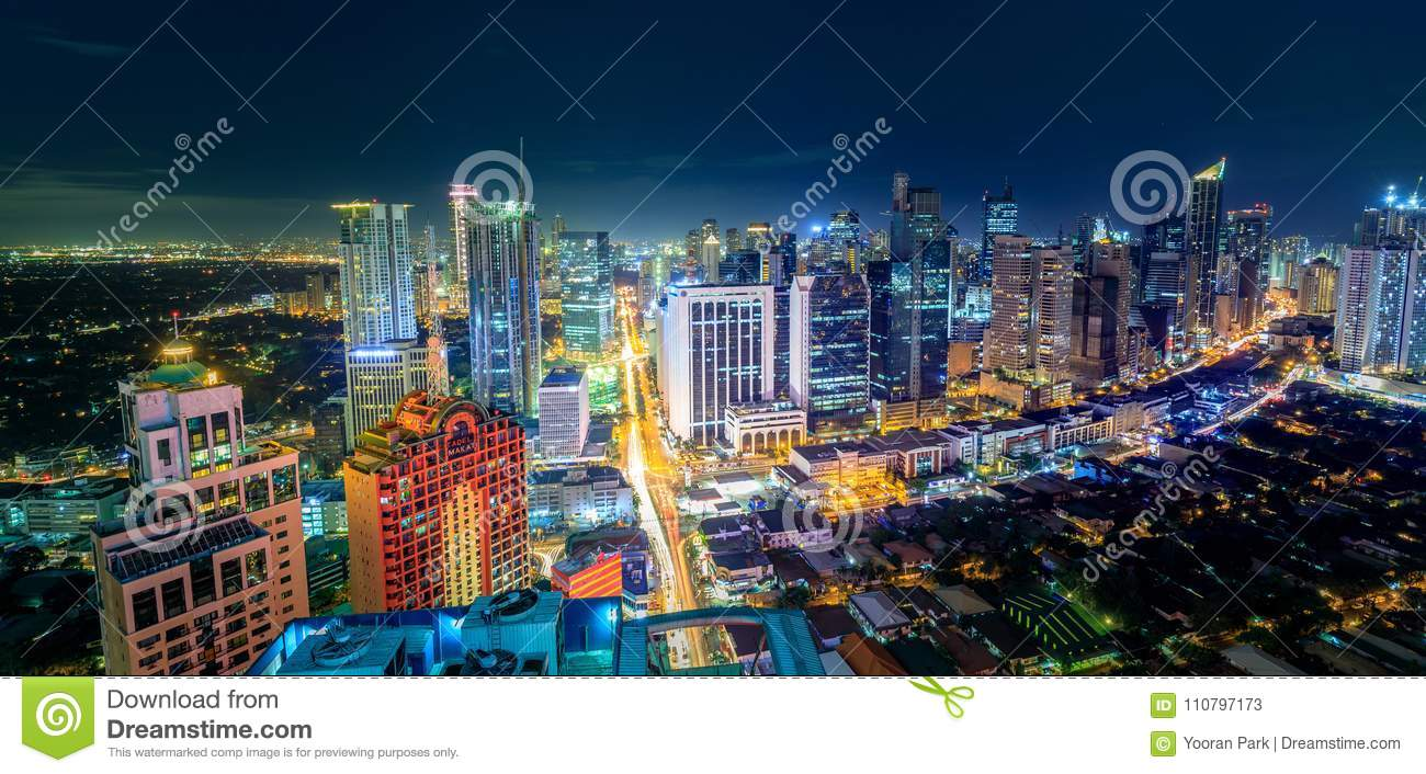 Eleveted, night view of Makati, the business district of Metro M