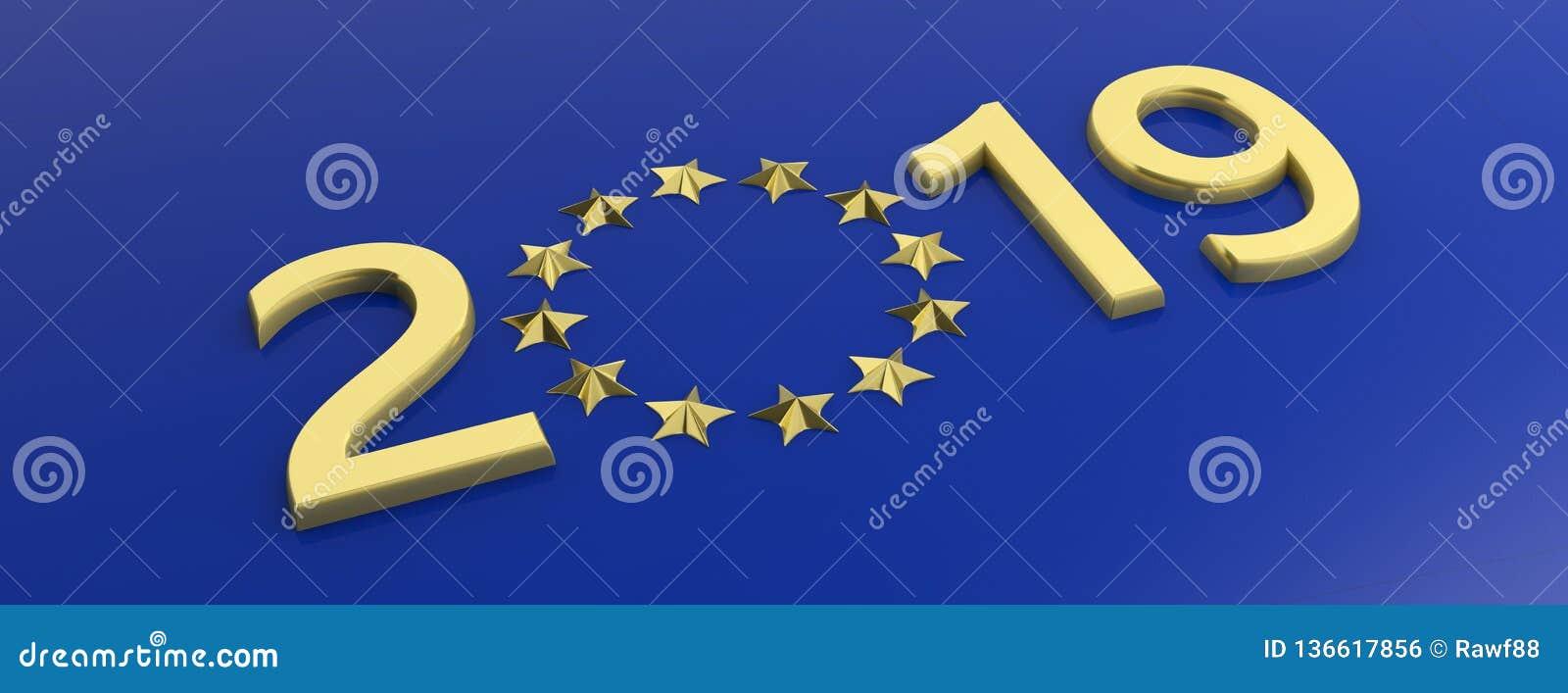 Elezione dell Unione Europea Il numero dell oro 2019 e stelle dorate circondano su fondo blu illustrazione 3D