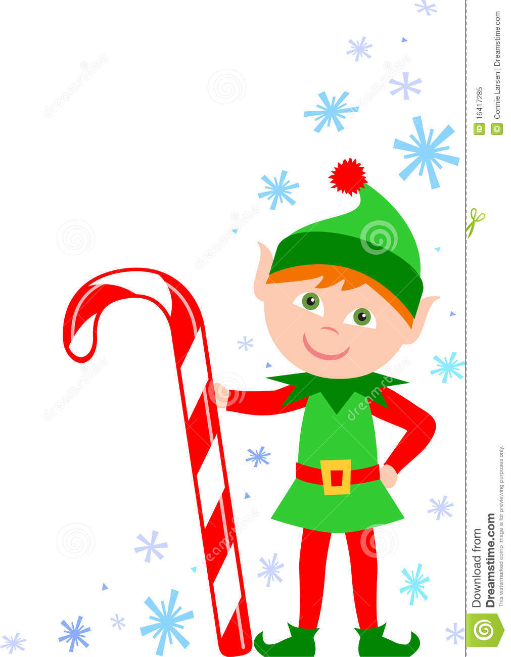 Illustration of a cute Christmas elf with a candy cane...one of a set ...