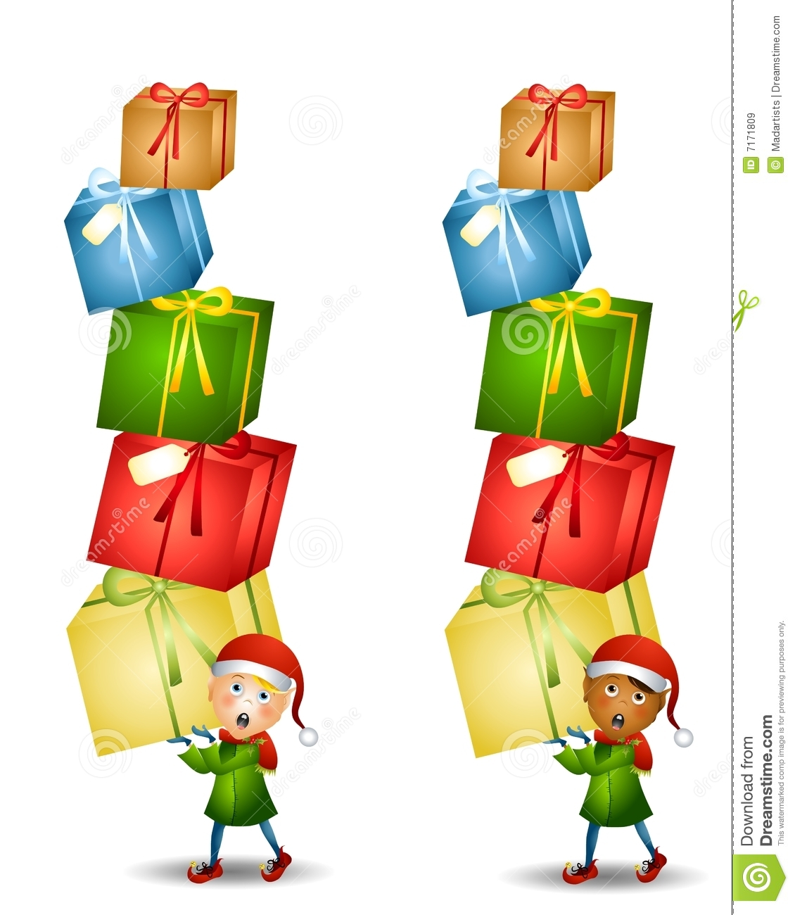 Christmas Toys Clip Art : Elf carrying christmas gifts stock illustration image