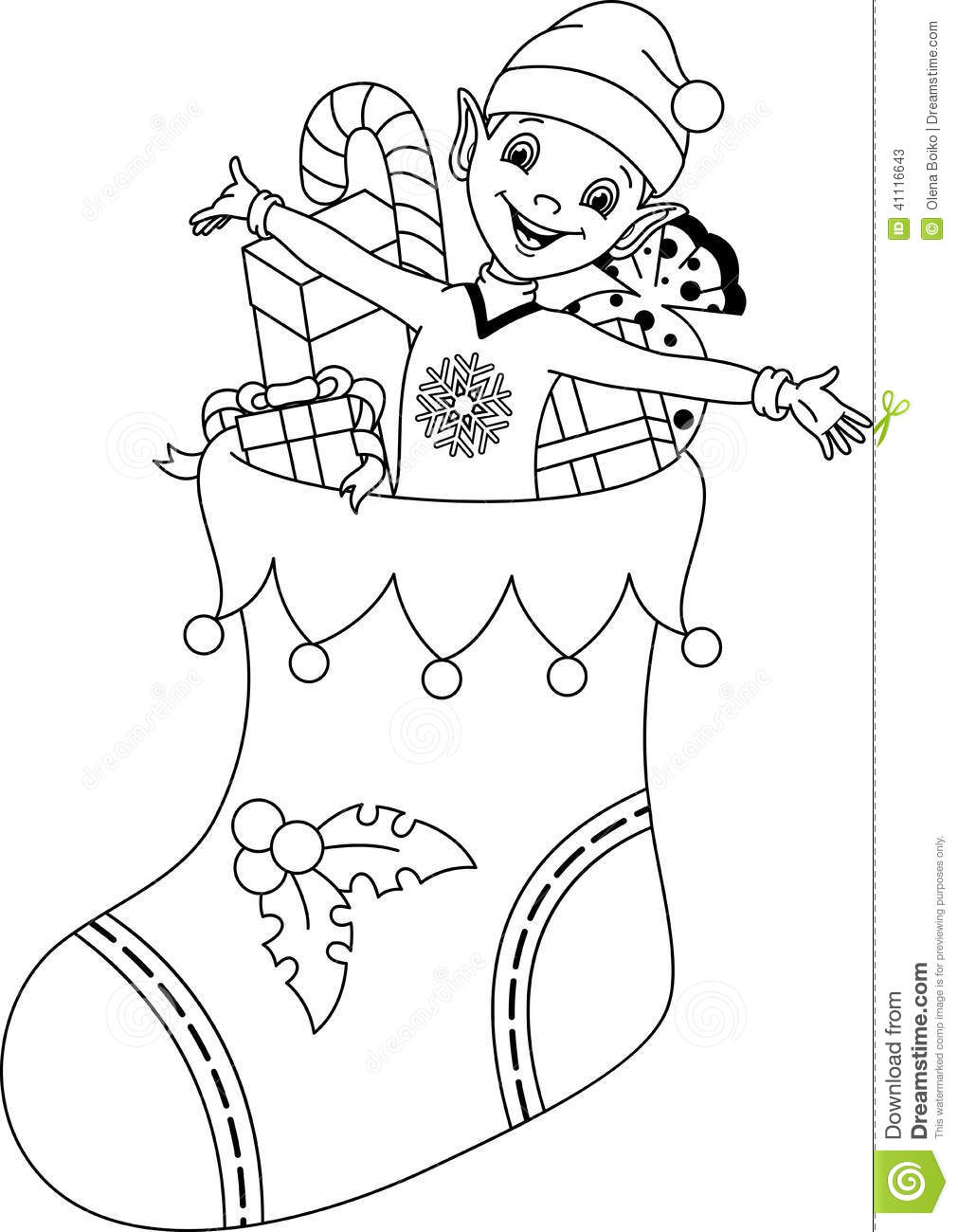Elf coloring page stock vector
