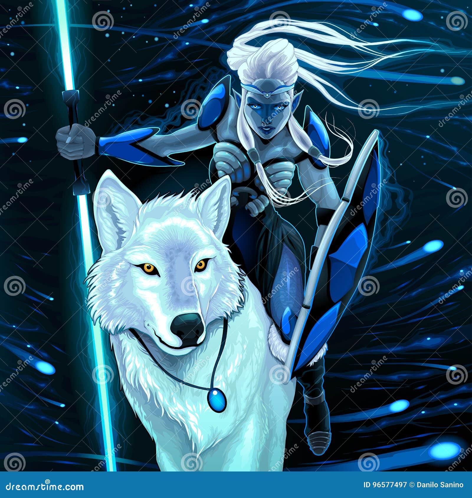 Elf con il lupo bianco illustrazione vettoriale. illustrazione di