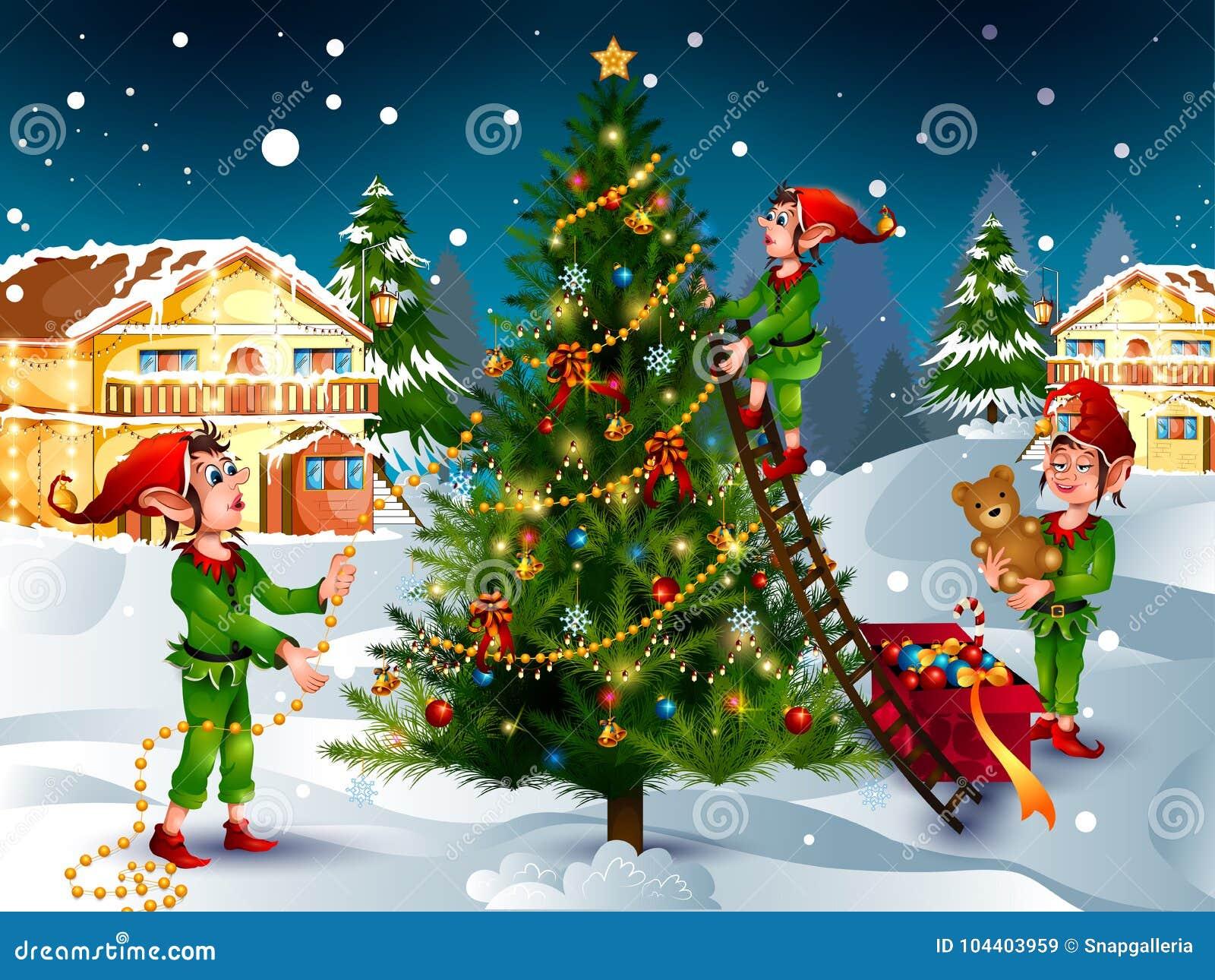 Elf con il regalo nel fondo di inverno per la celebrazione di festa di Buon Natale