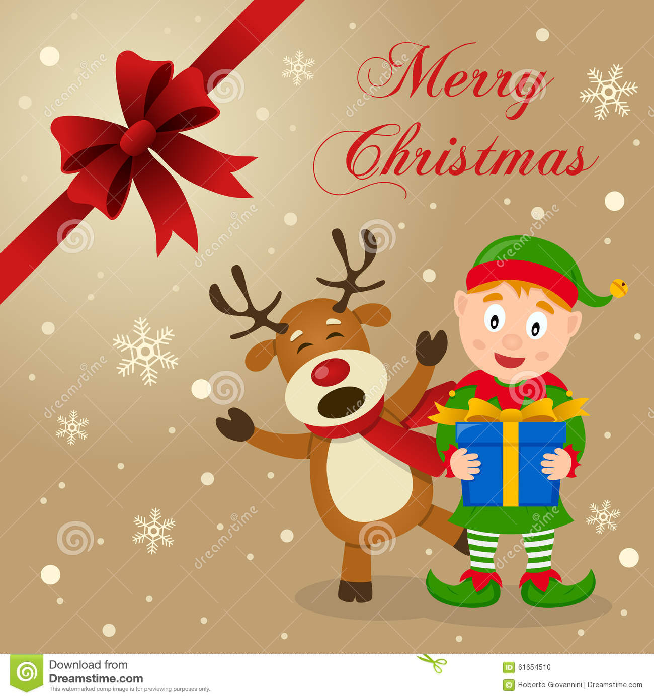 Funny Elf And Reindeer Cartoon Vector Cartoondealer Com
