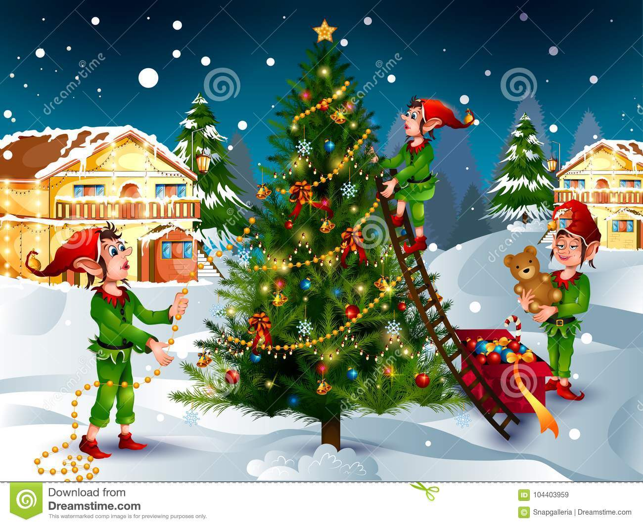 Elf with gift in winter background for Merry Christmas holiday celebration