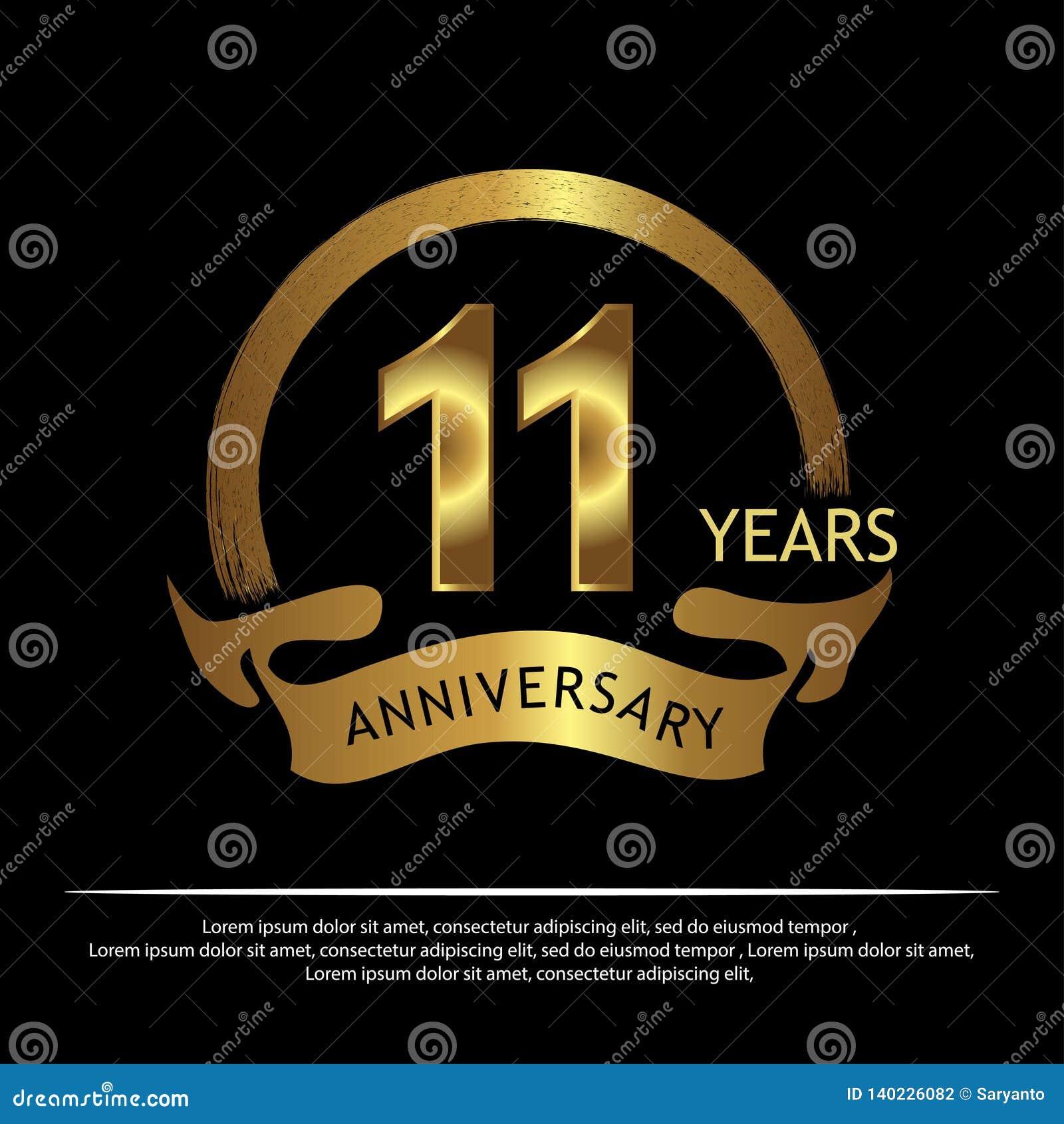 Elf jaar verjaardags gouden het ontwerp van het verjaardagsmalplaatje voor Web, spel, Creatieve affiche, boekje, pamflet, vlieger