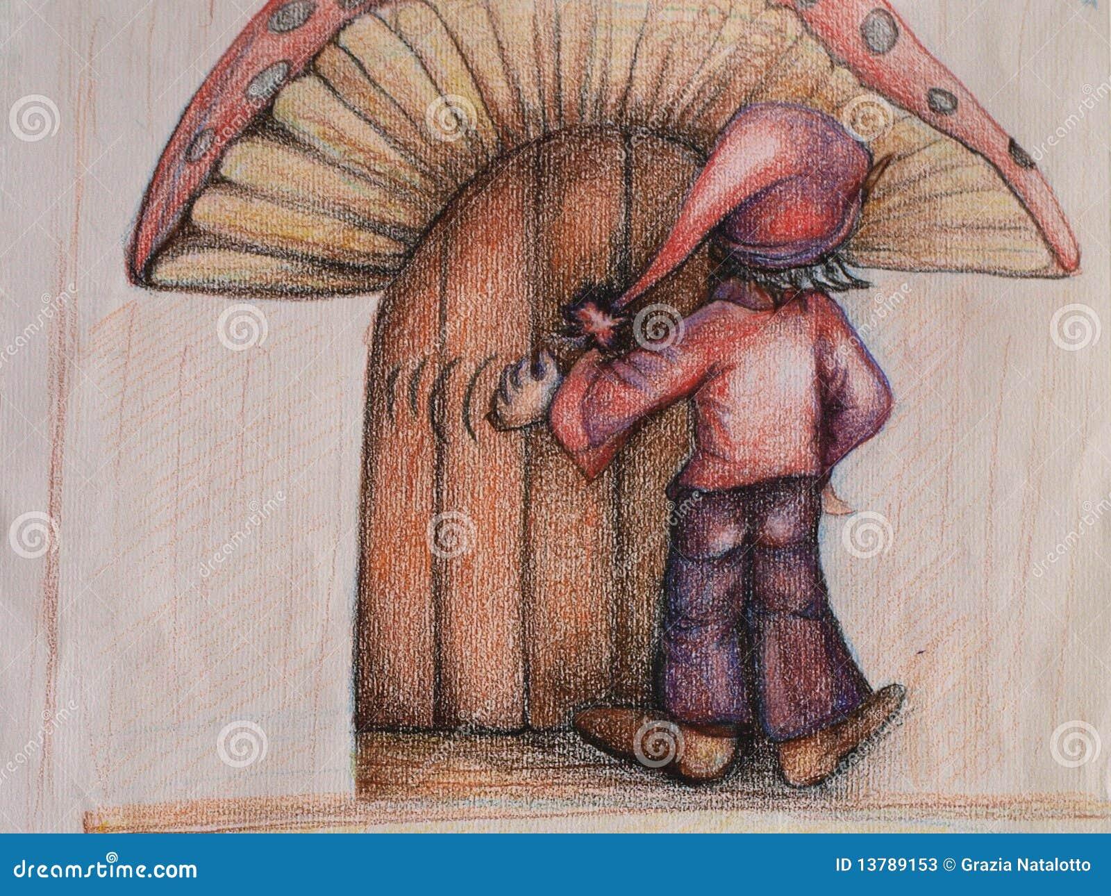 the works elf door elf knocking at the dwarf door stock photos image 13789153