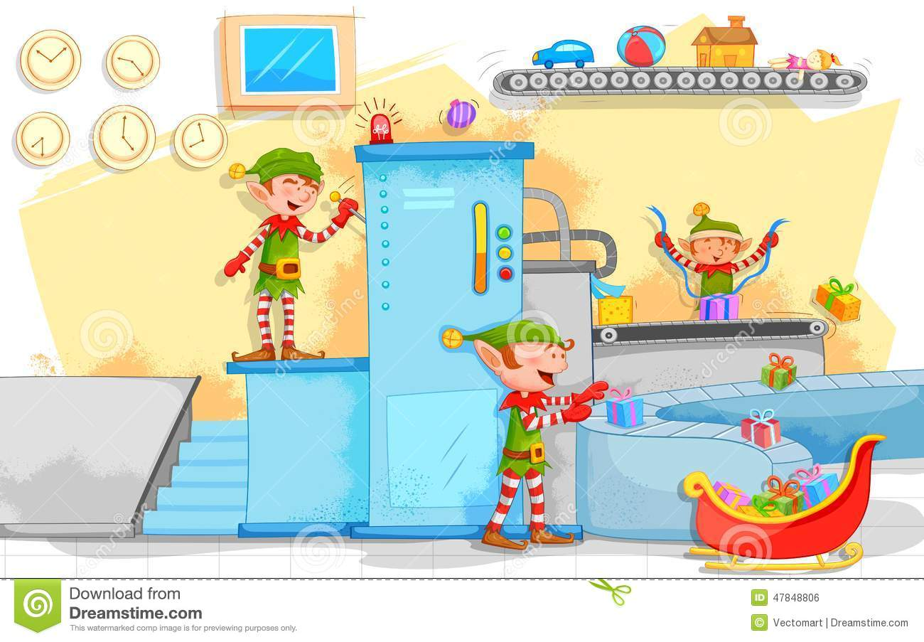 Elf Making Christmas Gifts In Toy Factory Stock Vector - Image ...