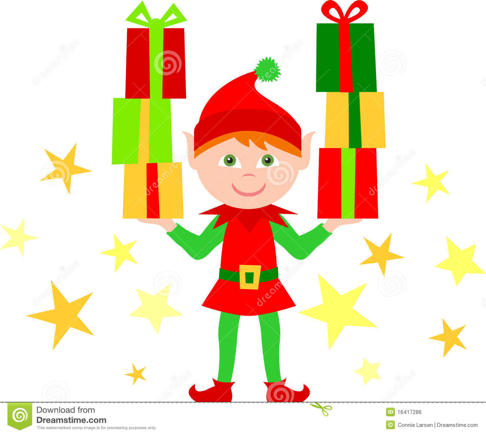 Elf mit Stapeln Geschenken