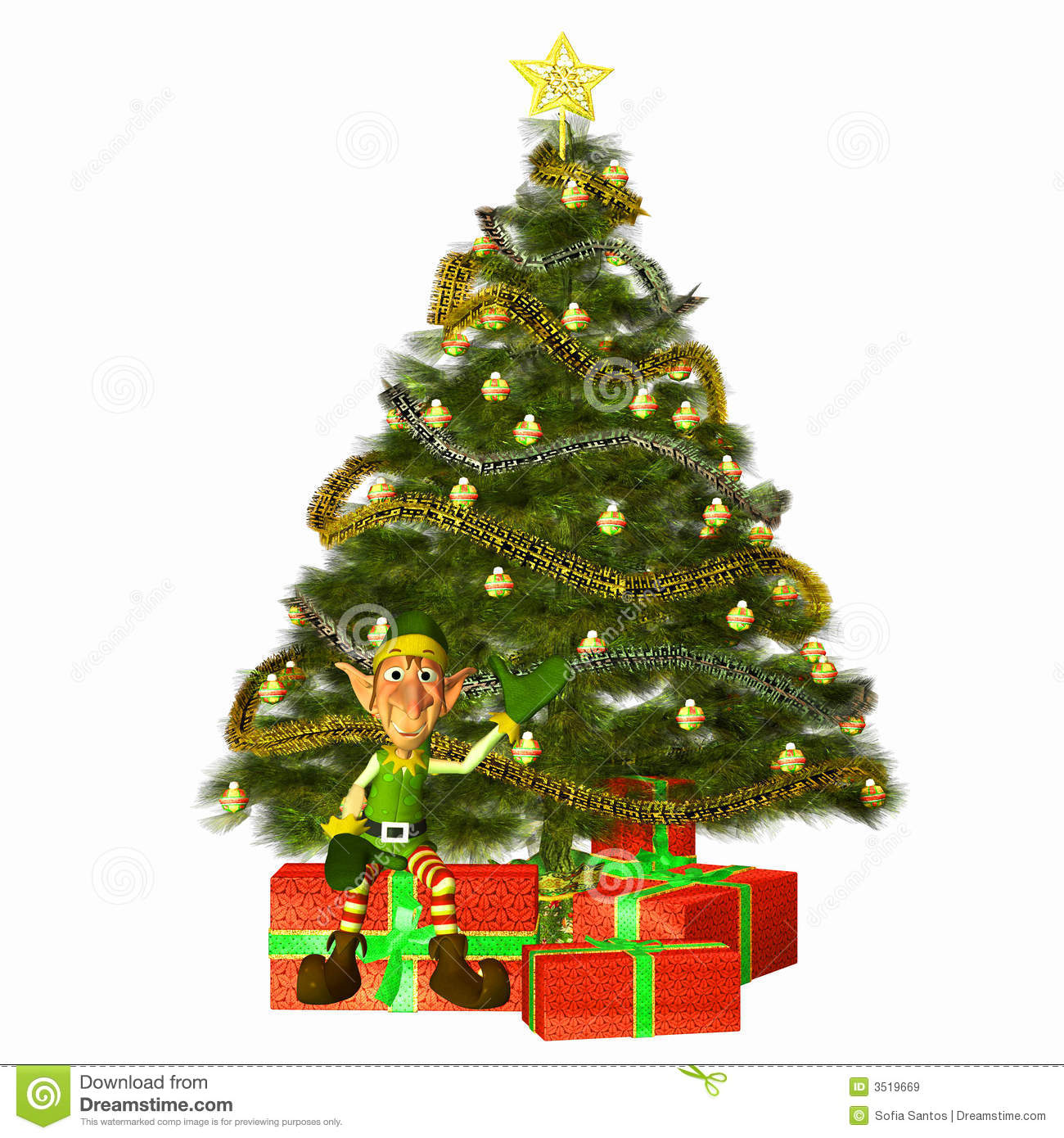 Elf with Presents and Tree