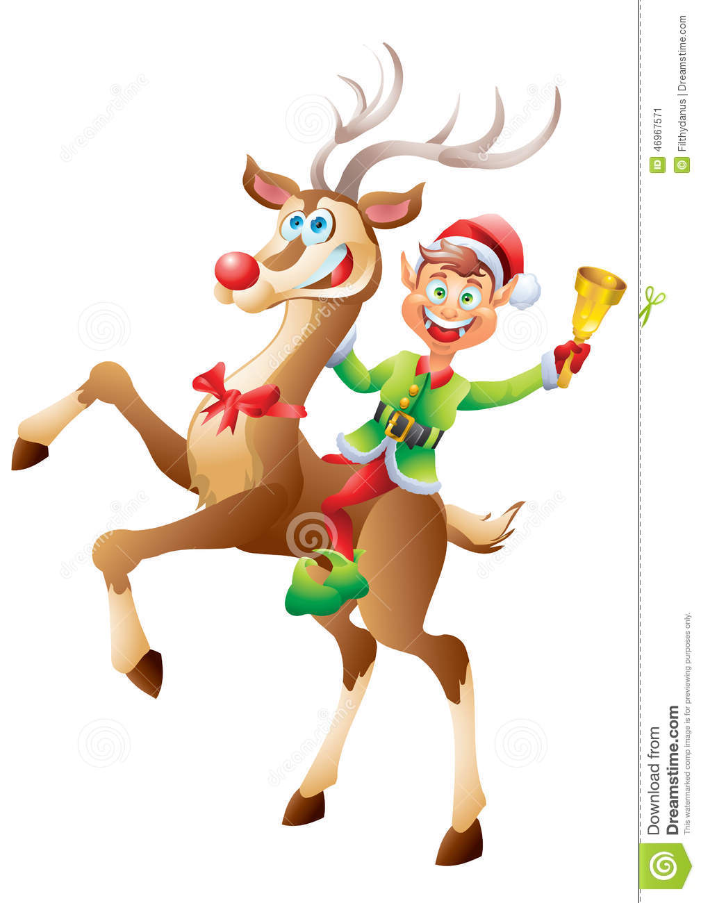 Elf riding reindeer with christmas bell isolated stock vector image