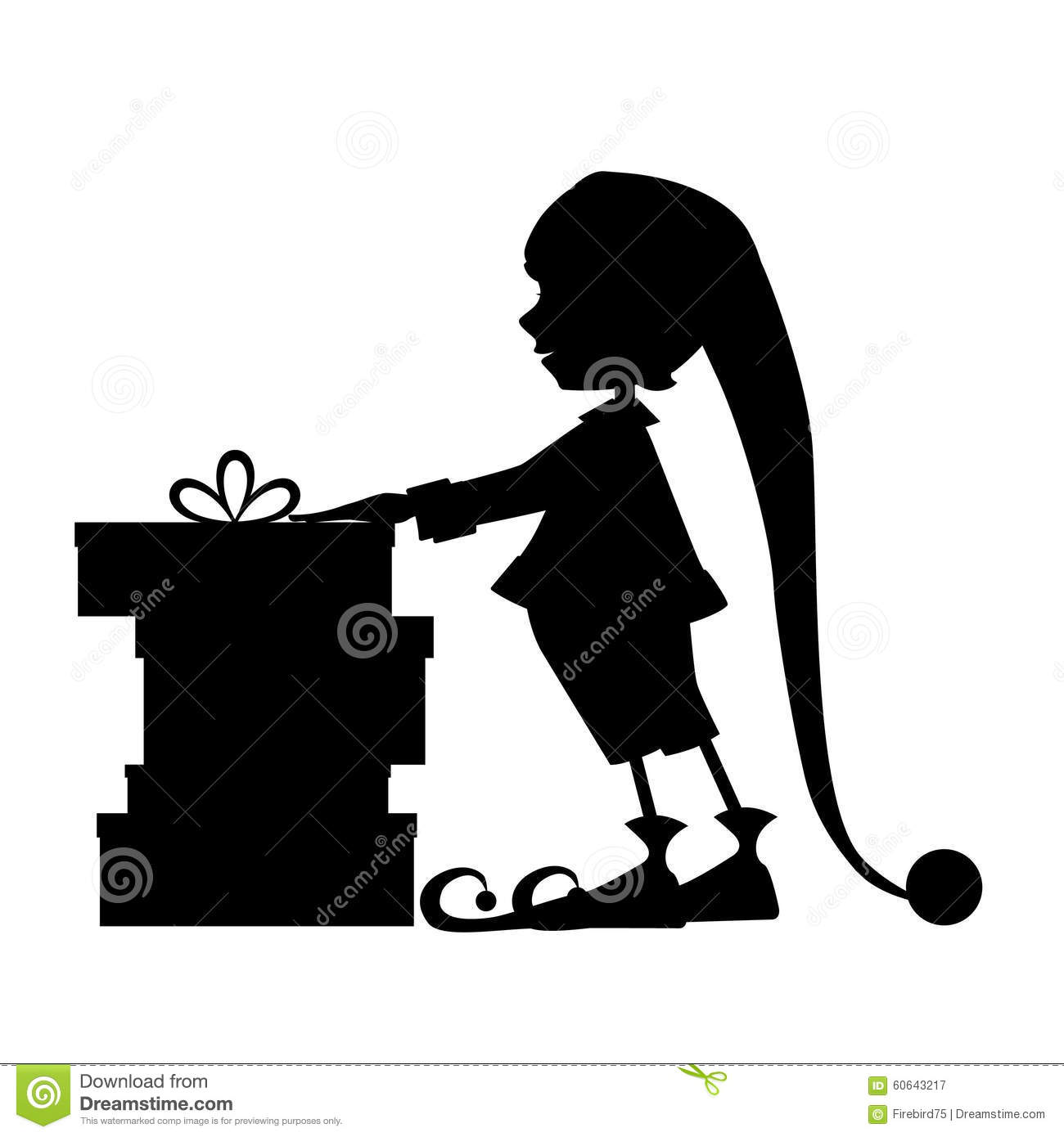 elf silhouette and christmas gifts stock vector image 60643217