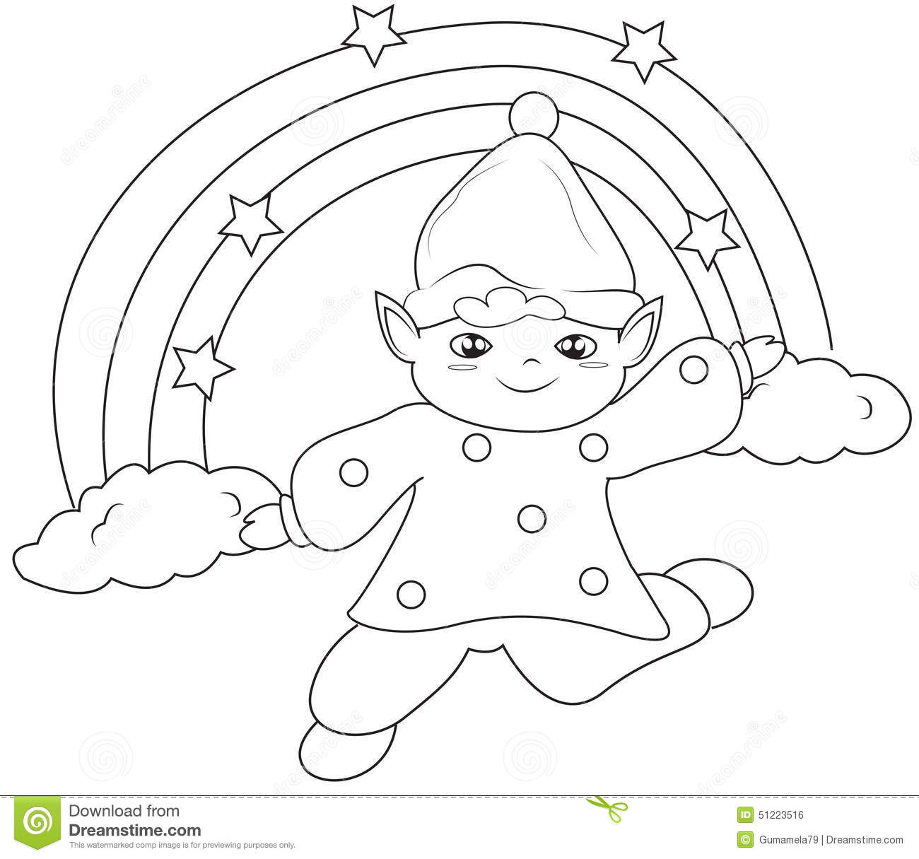 elf under the rainbow coloring page stock illustration image