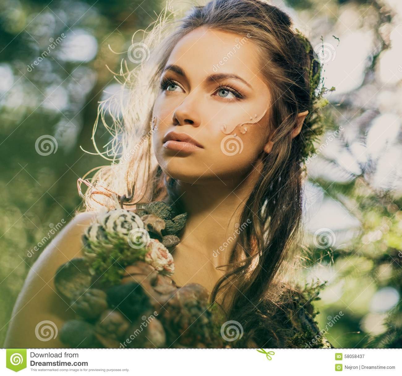 elf woman in a forest stock photo image 58058437
