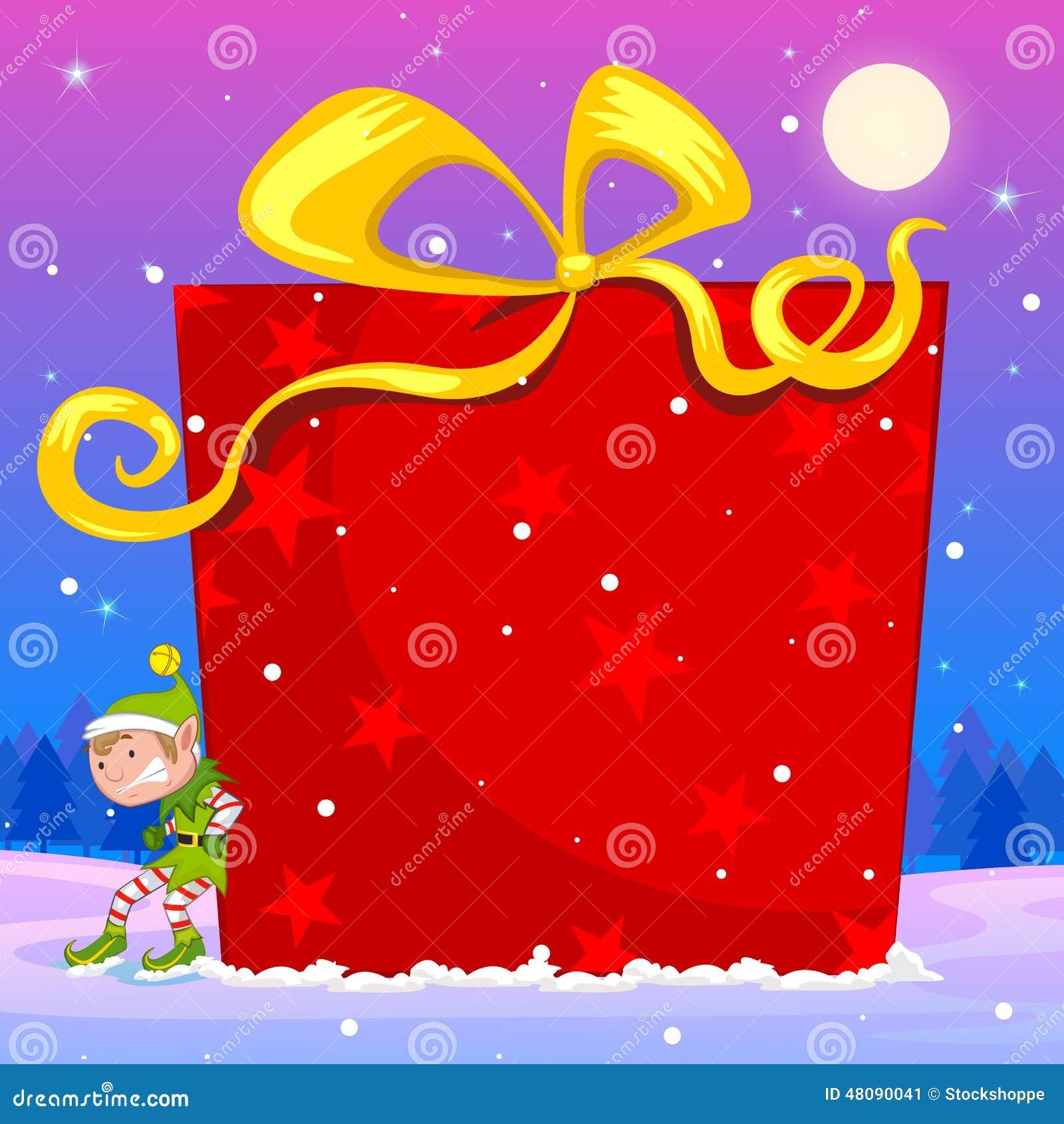 Elfe, Die Großes Weihnachtsgeschenk Drückt Vektor Abbildung ...