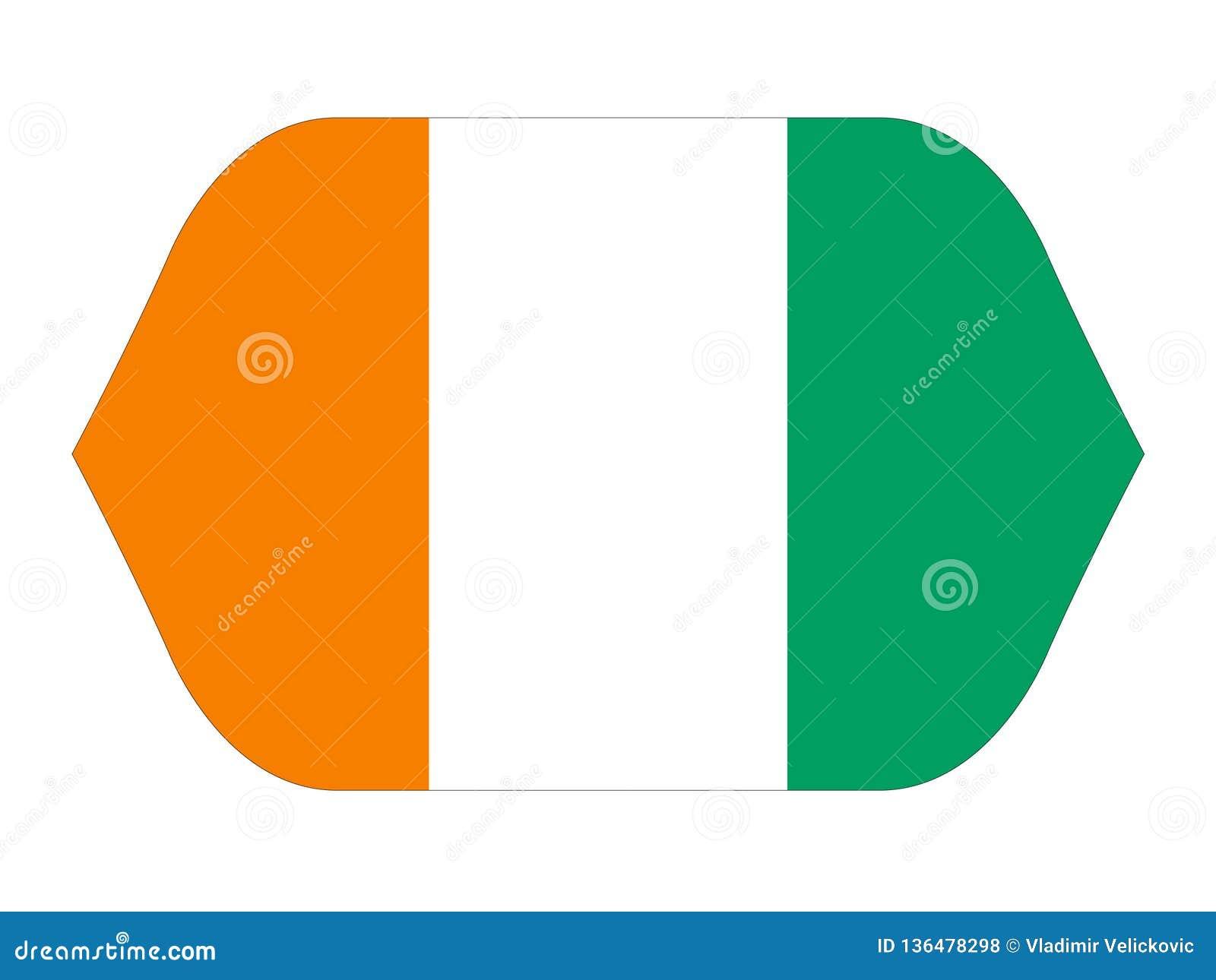 Elfenbenskustflagga - land som lokaliseras i Västafrika