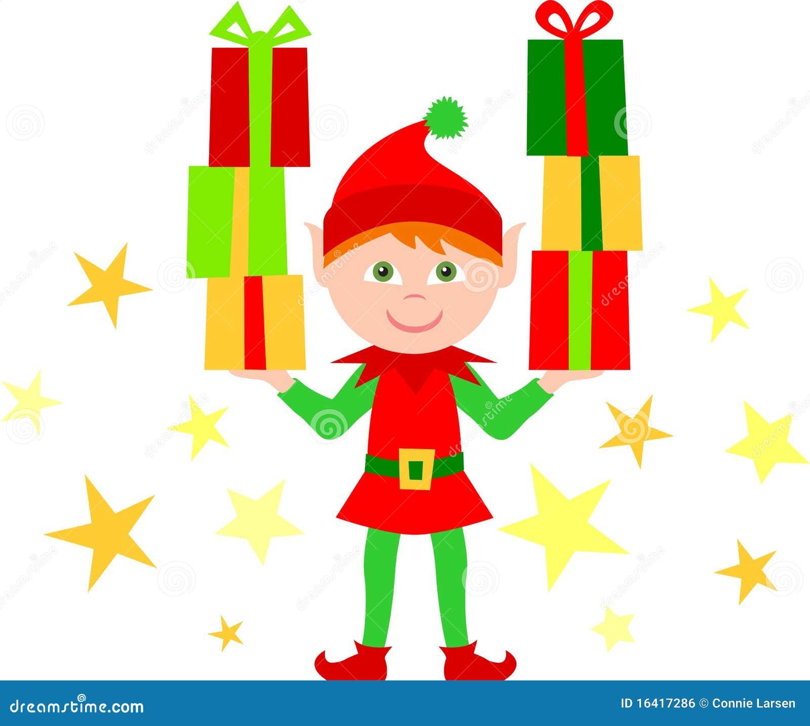Elfo con le pile di regali