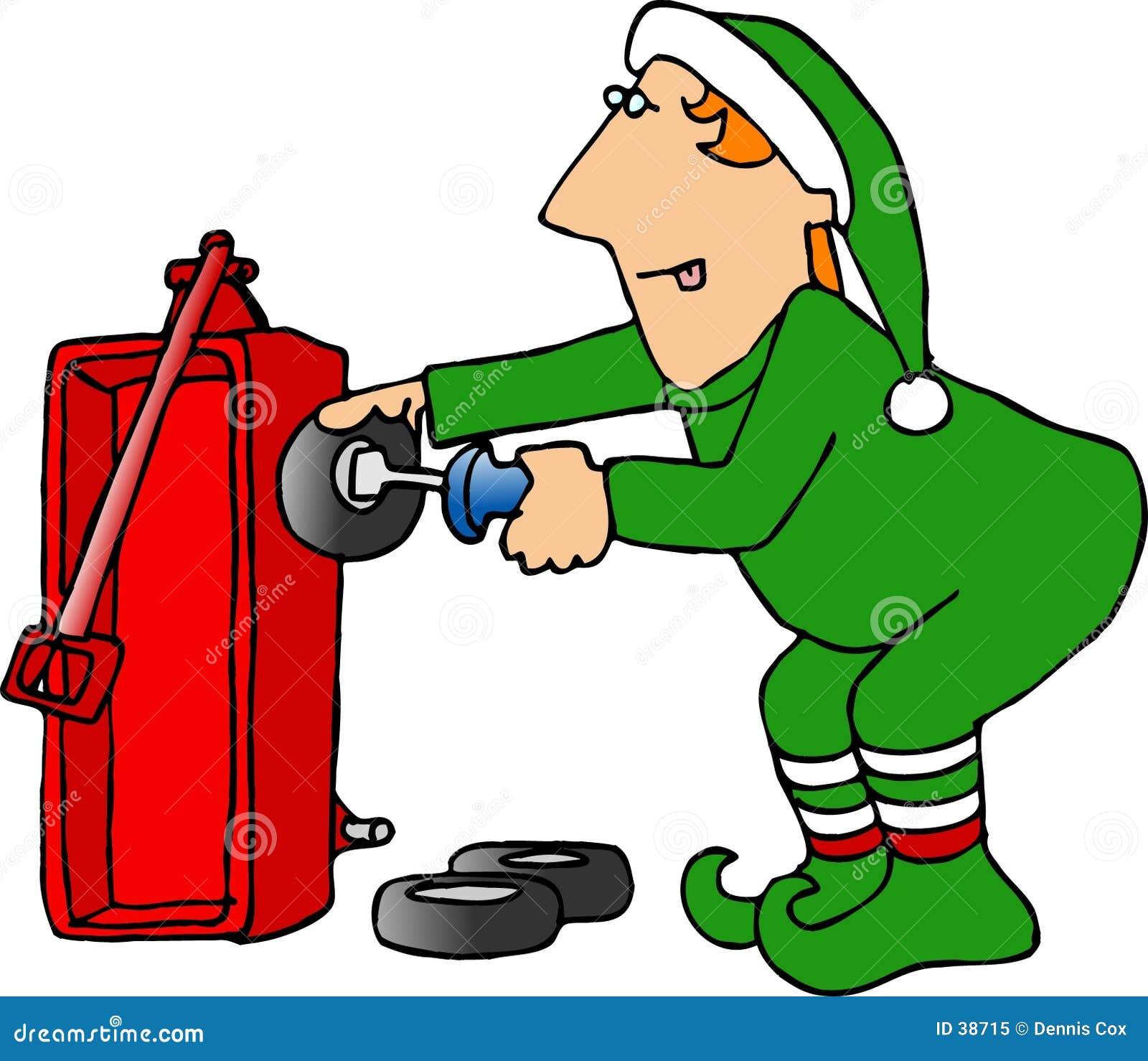 Elfo di natale che monta un vagone rosso