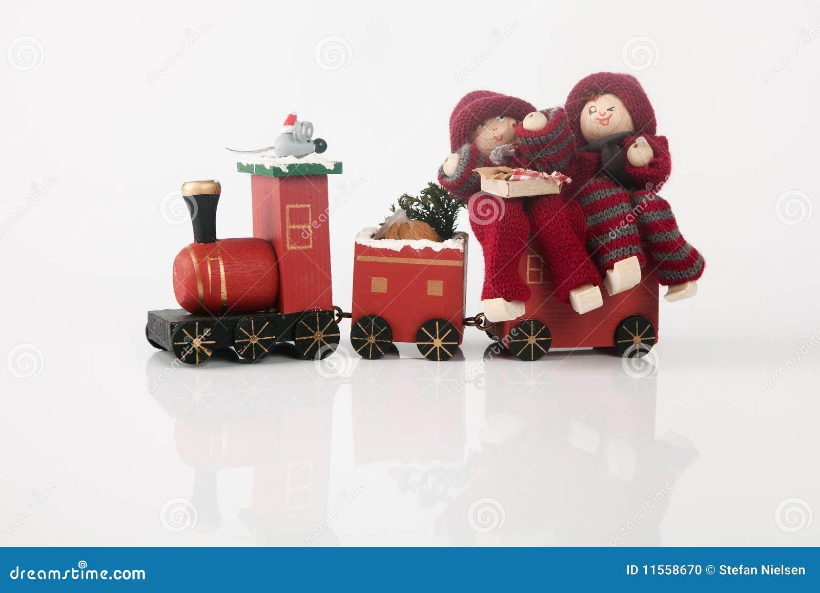 Elfs en un tren del juguete