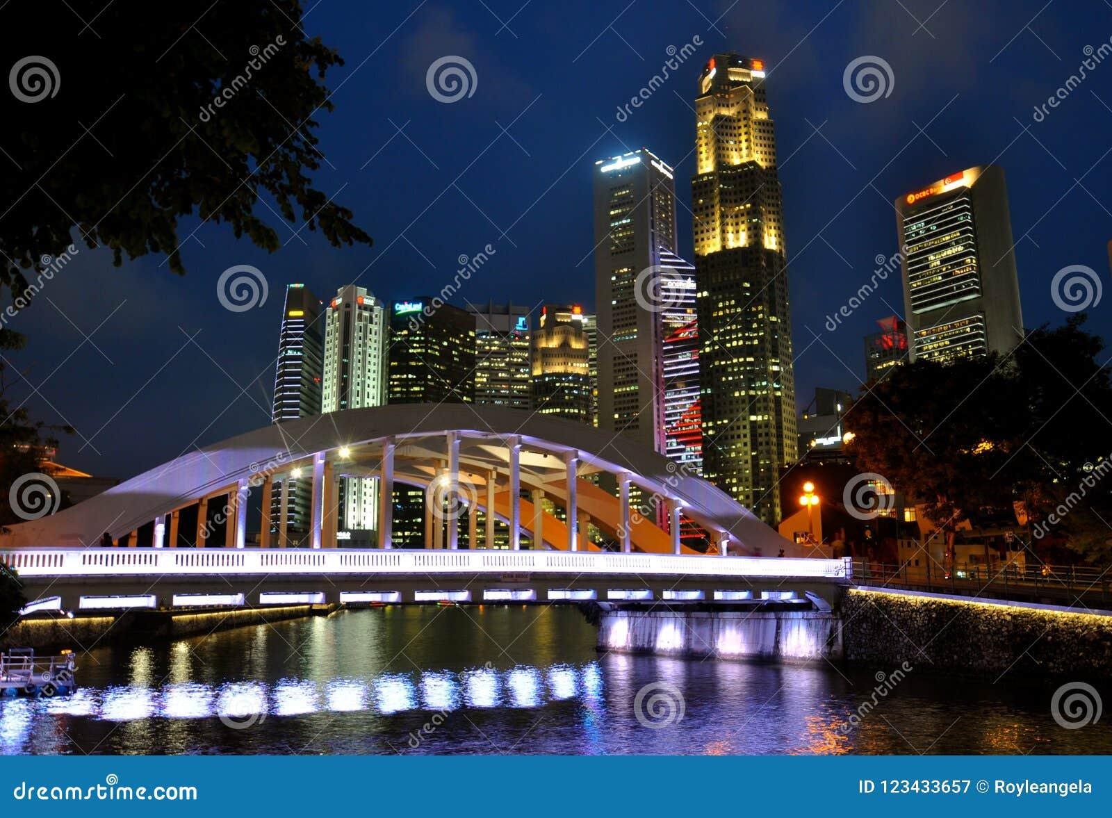 Elginbrug Singapore bij nacht