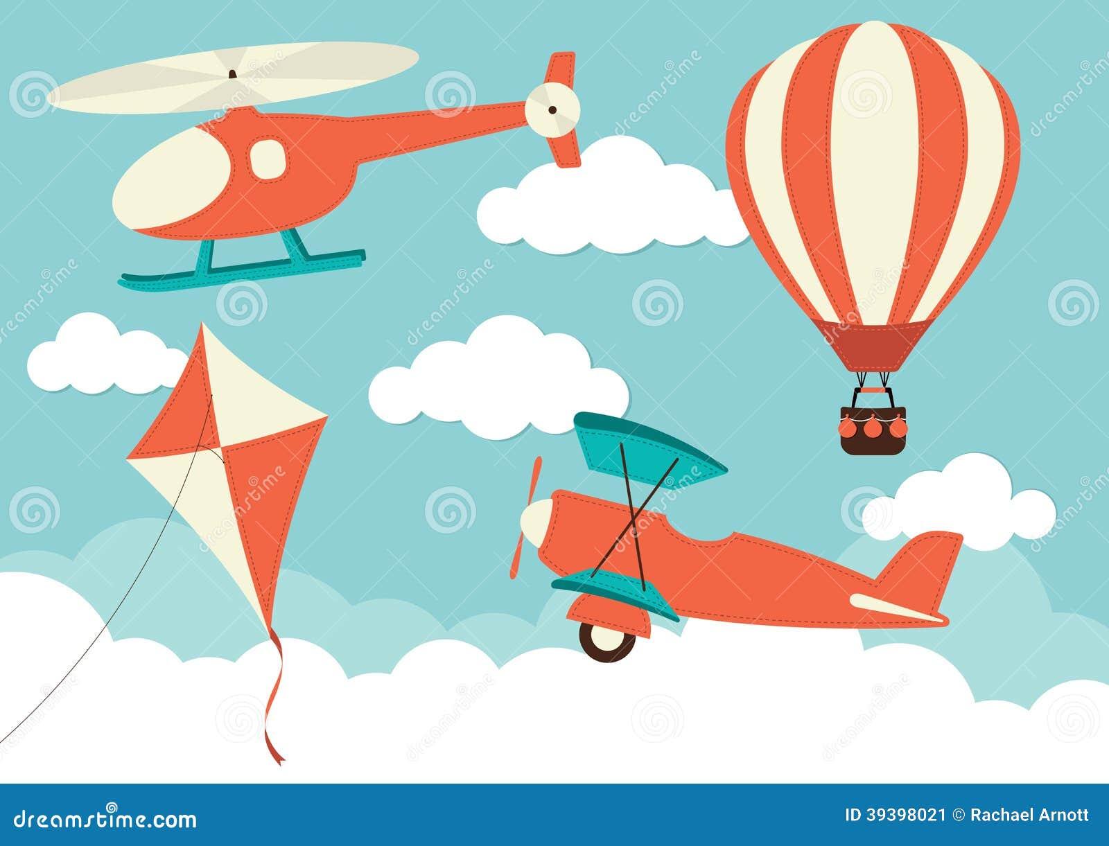 Elicottero Arancione : Elicottero aereo aquilone mongolfiera illustrazione
