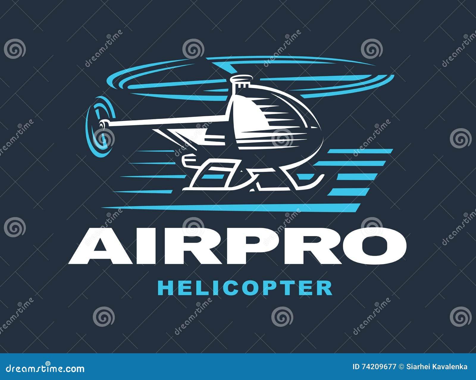 Elicottero Stilizzato : Elicottero di volo emblema logo fondo scuro