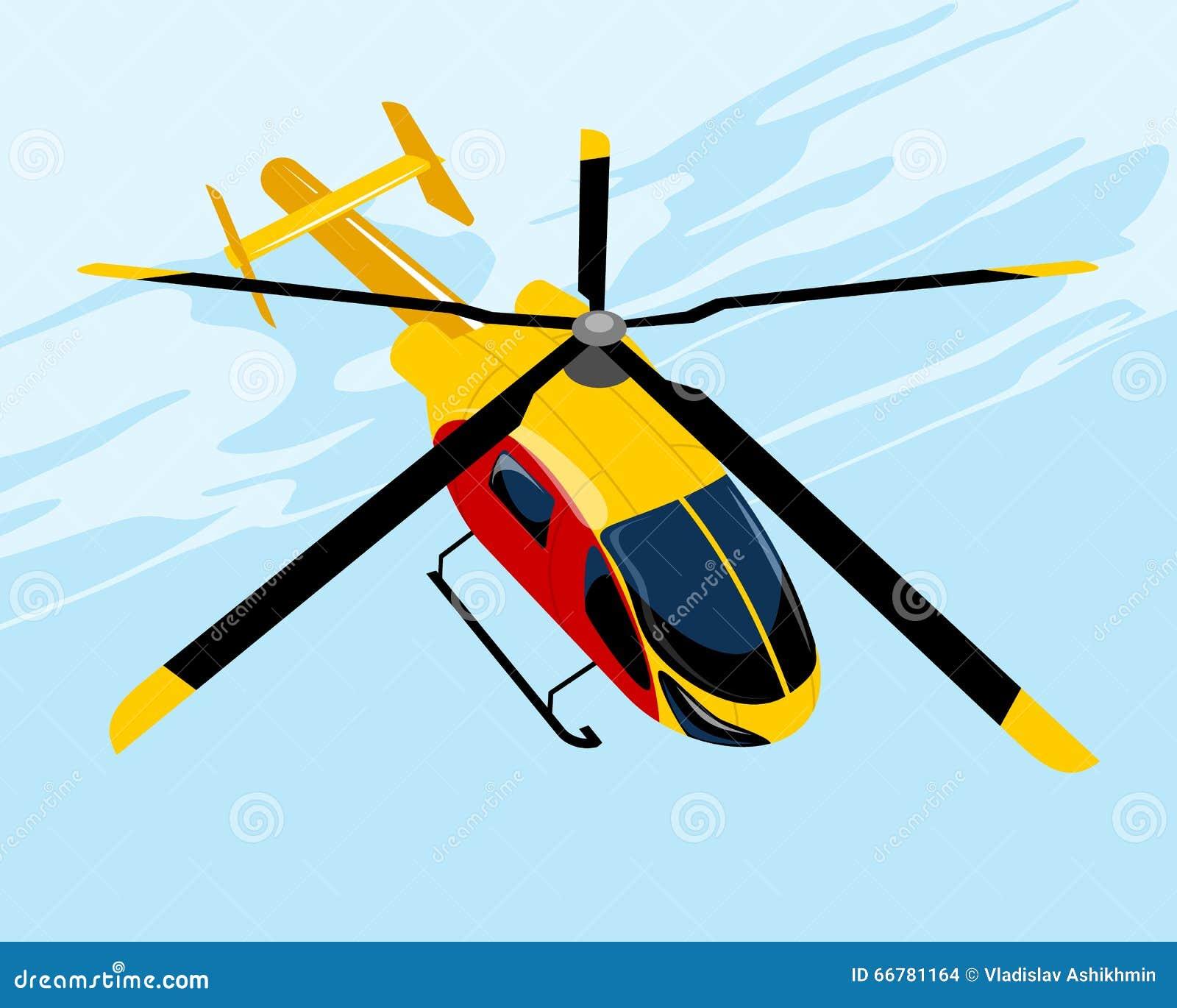 Elicottero Giallo : Elicottero giallo di volo illustrazione vettoriale