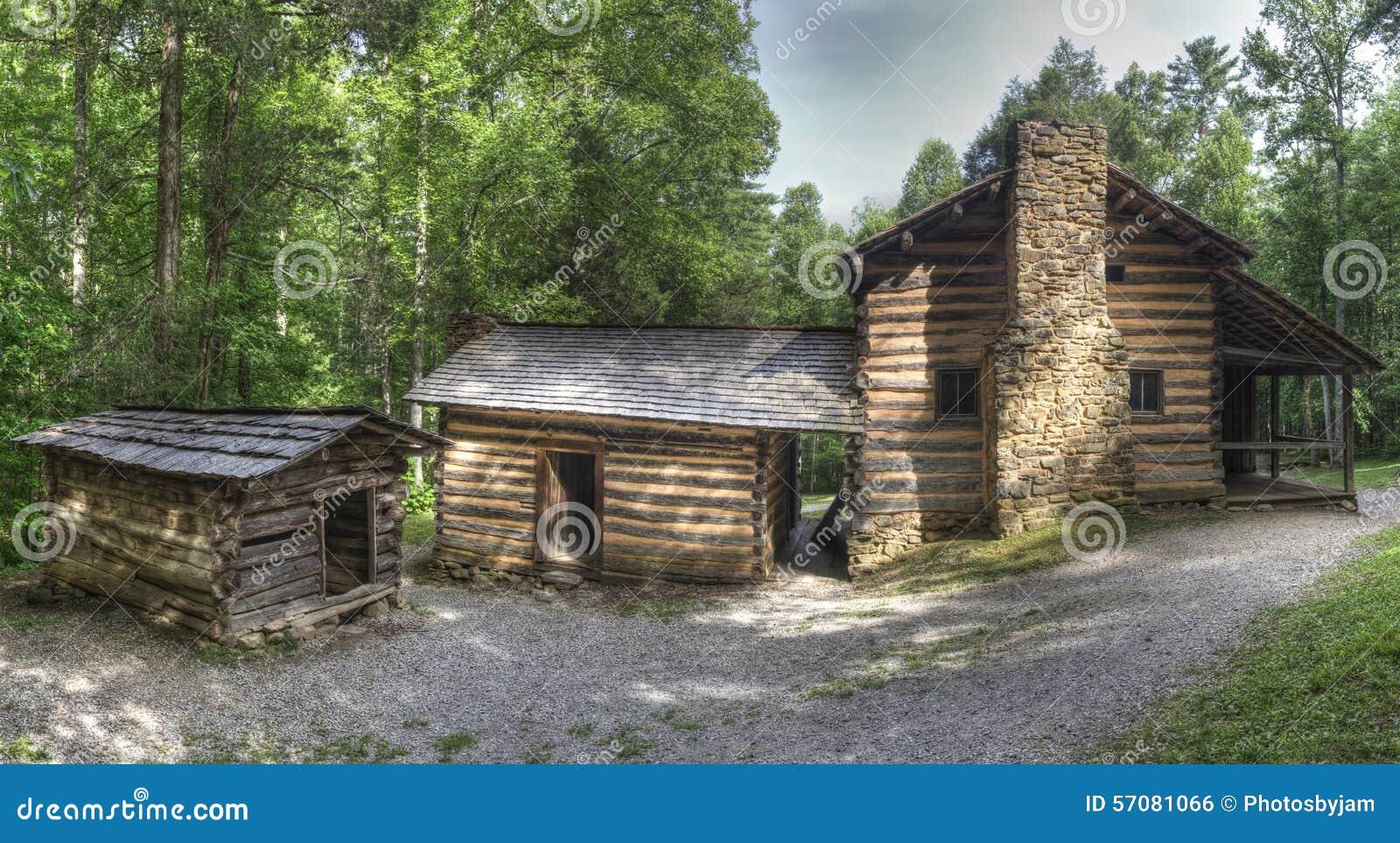 Elijah Oliver Log Cabin Great Smoky Mountains National Park Stock
