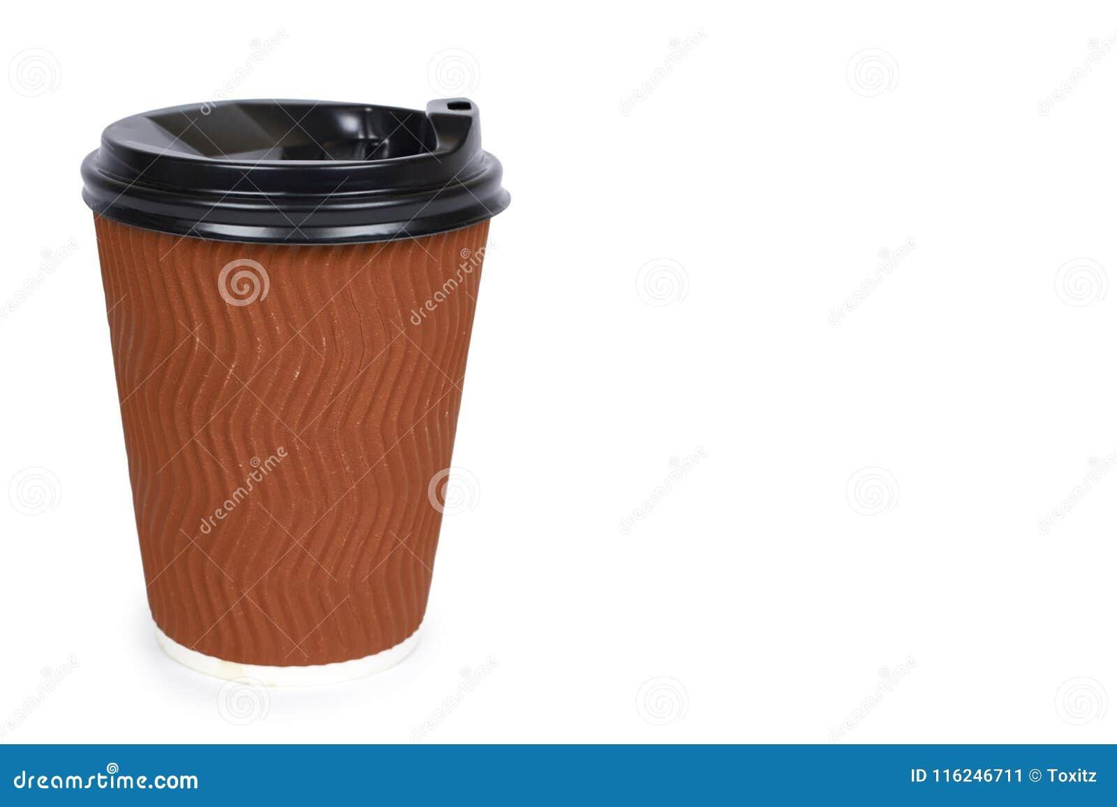 Elimini il caffè in termo tazza Isolato su una priorità bassa bianca Contenitore eliminabile, bevanda calda copi lo spazio, model