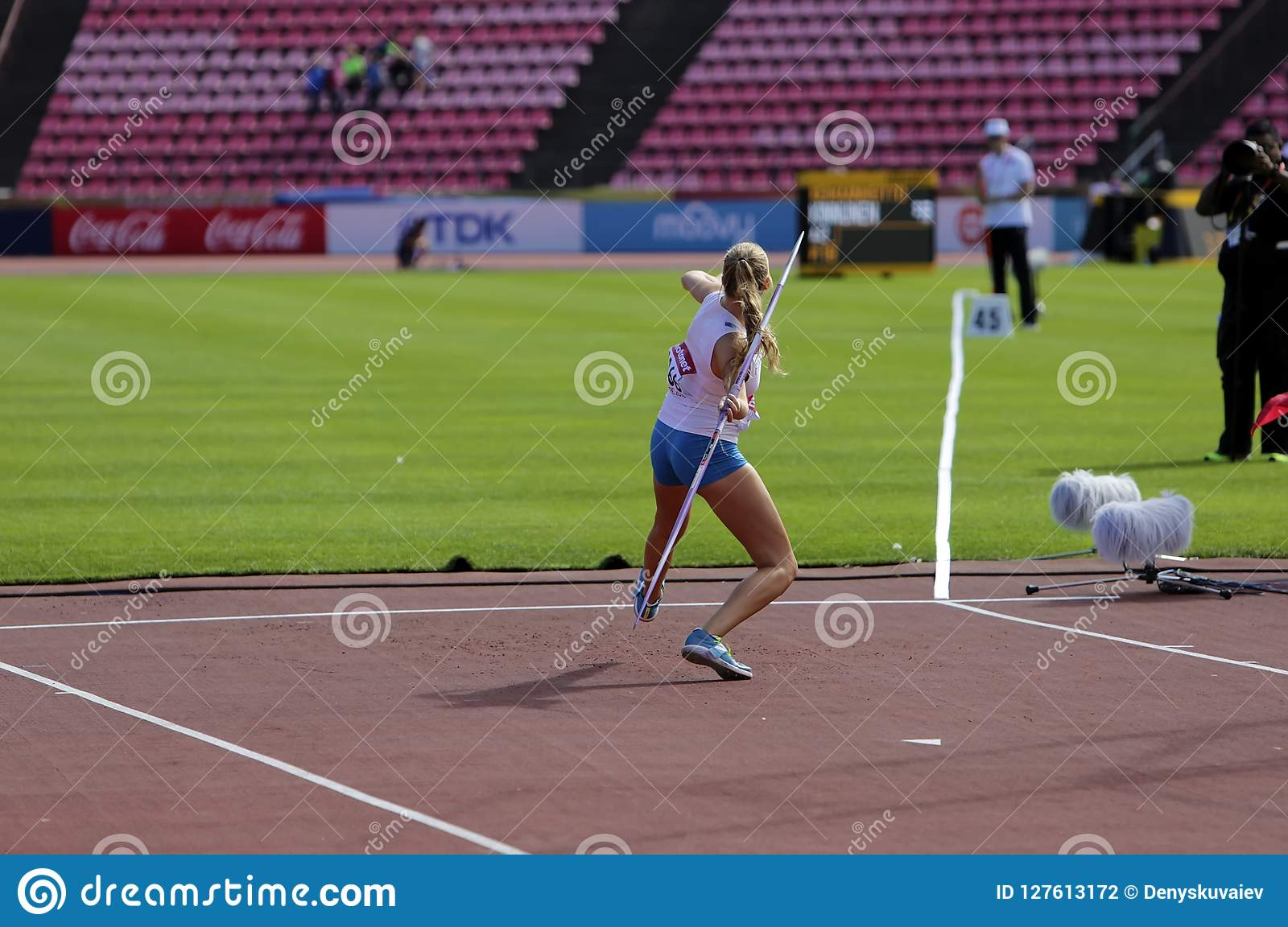 ELINA KINNUNEN from Finland on the javelin throw event in the IAAF World U20 Championship in Tampere, Finland 10th July, 2018.