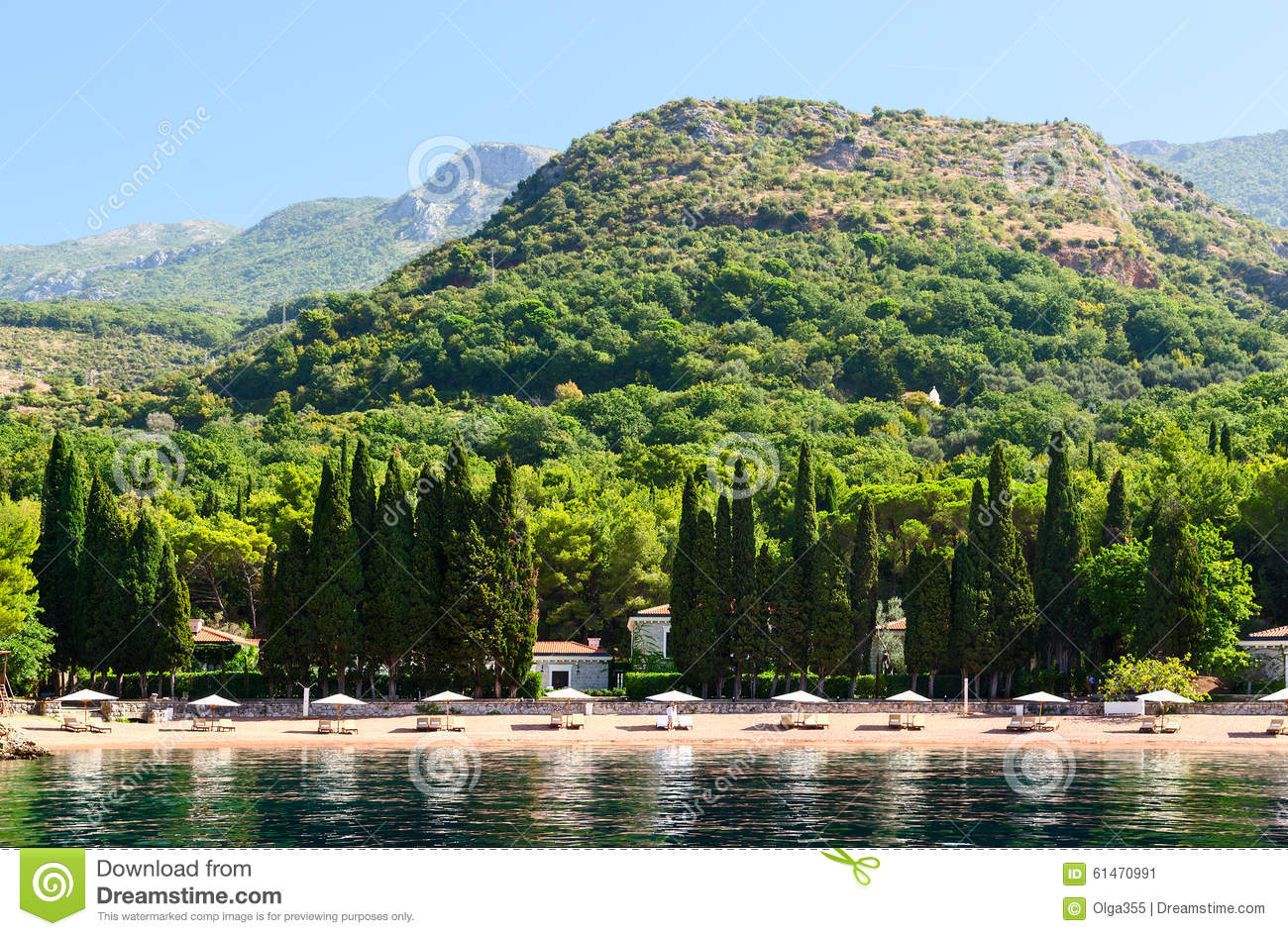 Milocer Montenegro  city pictures gallery : MILOCER, MONTENEGRO SEPTEMBER 19, 2015: The famous elite beach of ...