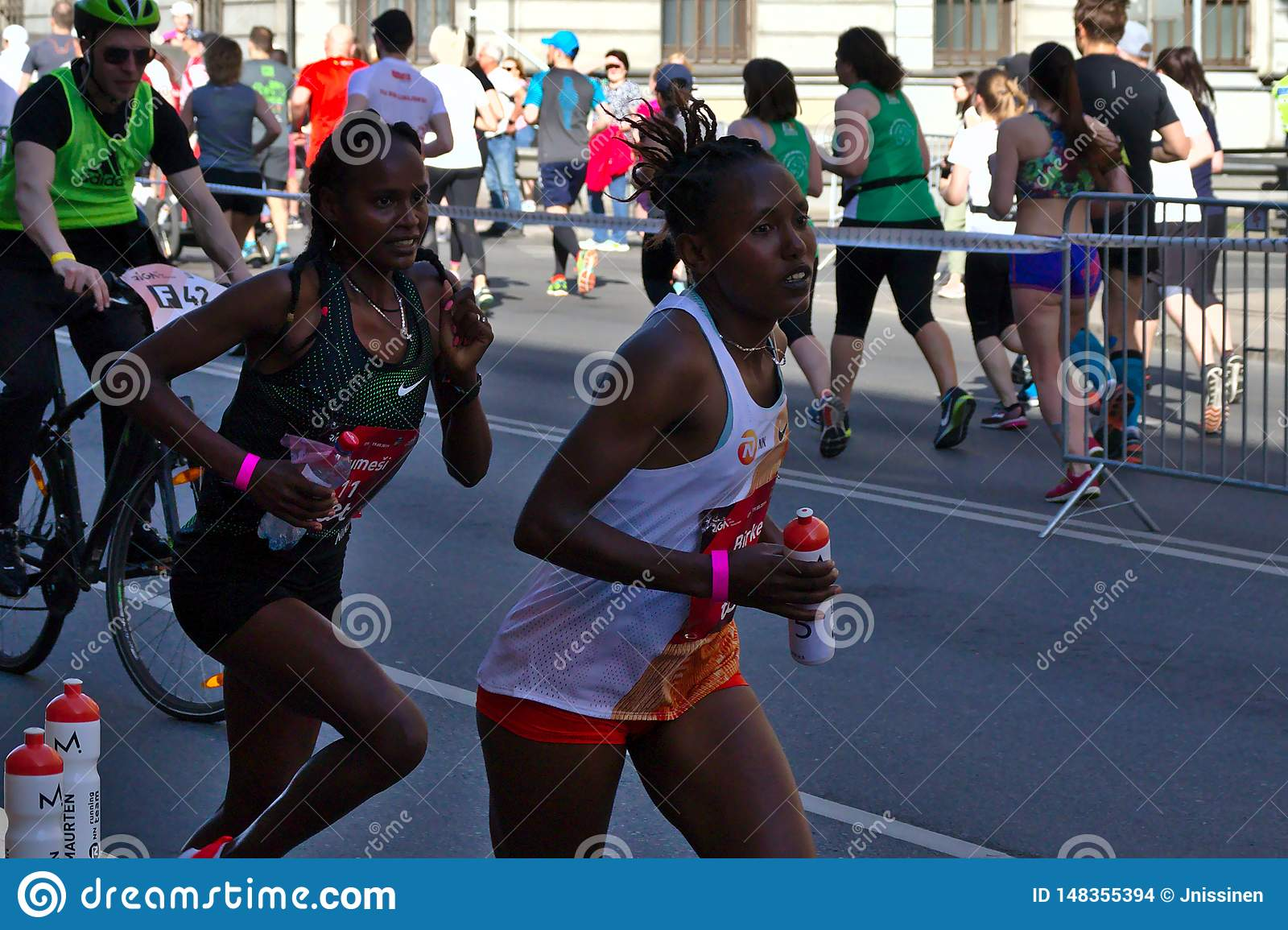 Riga, Latvia - May 19 2019: Elite female runners continuing the marathon