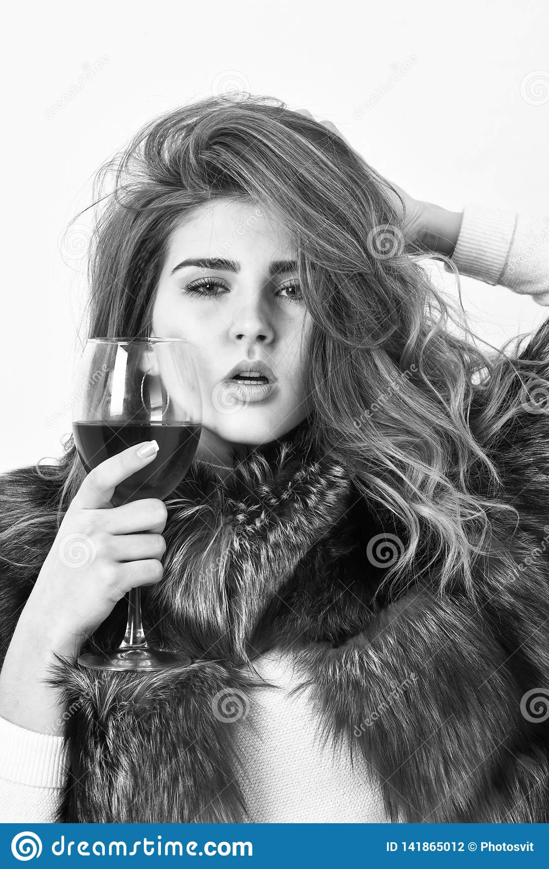 Elite leisure. Lady fashion model curly hairstyle enjoy elite wine. Wine culture concept. Woman drink wine. Reasons