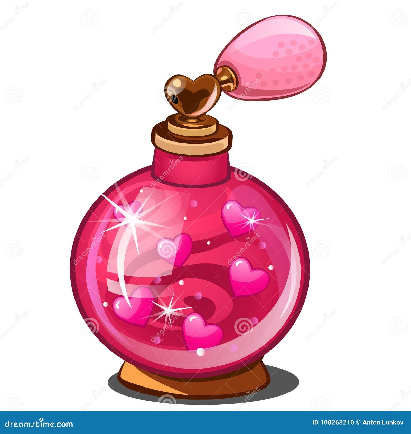 Elixir do amor Garrafa de perfume cor-de-rosa com corações