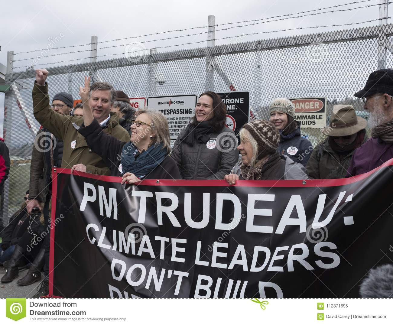 Elizabeth May arrested at the Kinder Morgan protest site in Burnaby, BC