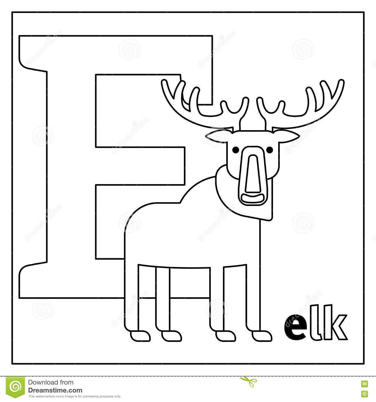 Elk, Letter E Coloring Page Stock Vector - Illustration of language ...