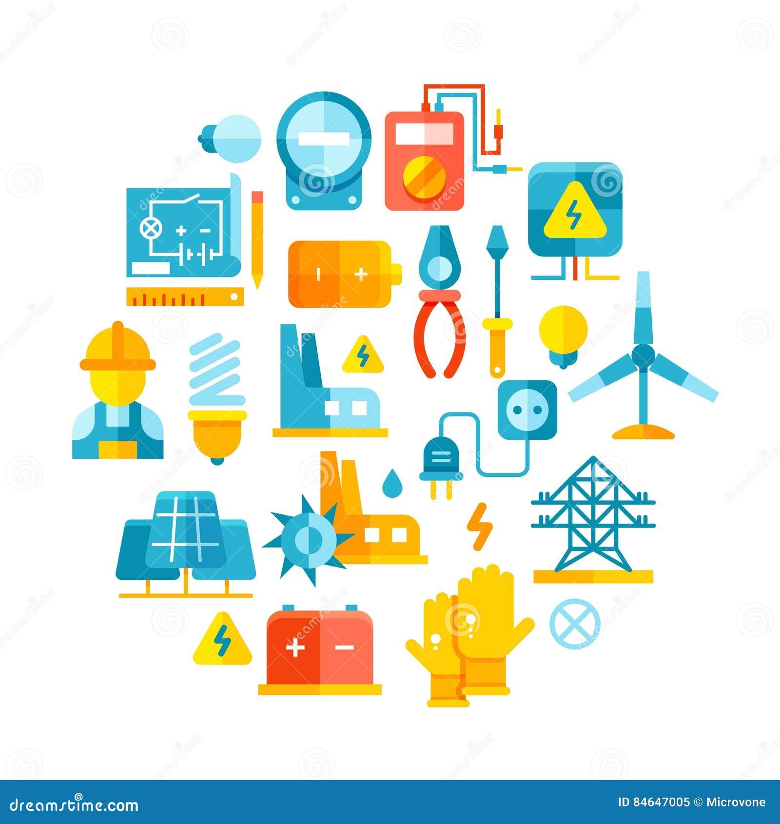 Elkraft elektriska linjer, elektricitetsvektorbegrepp med plana symboler
