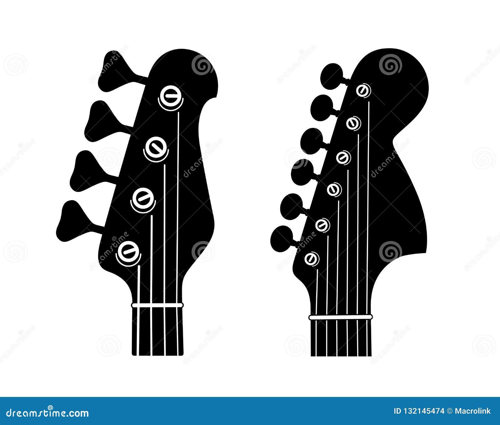 Elkraft och Bass Guitar Headstock Silhouettes som isoleras på vit bakgrund