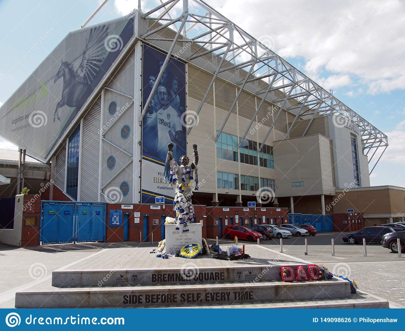 Elland Road Football Stadium The Home Of Leeds United Witth Bremner Square Decorated With Team Scarves And Shirts On The Day After Editorial Photo Image Of Road Front 149098626