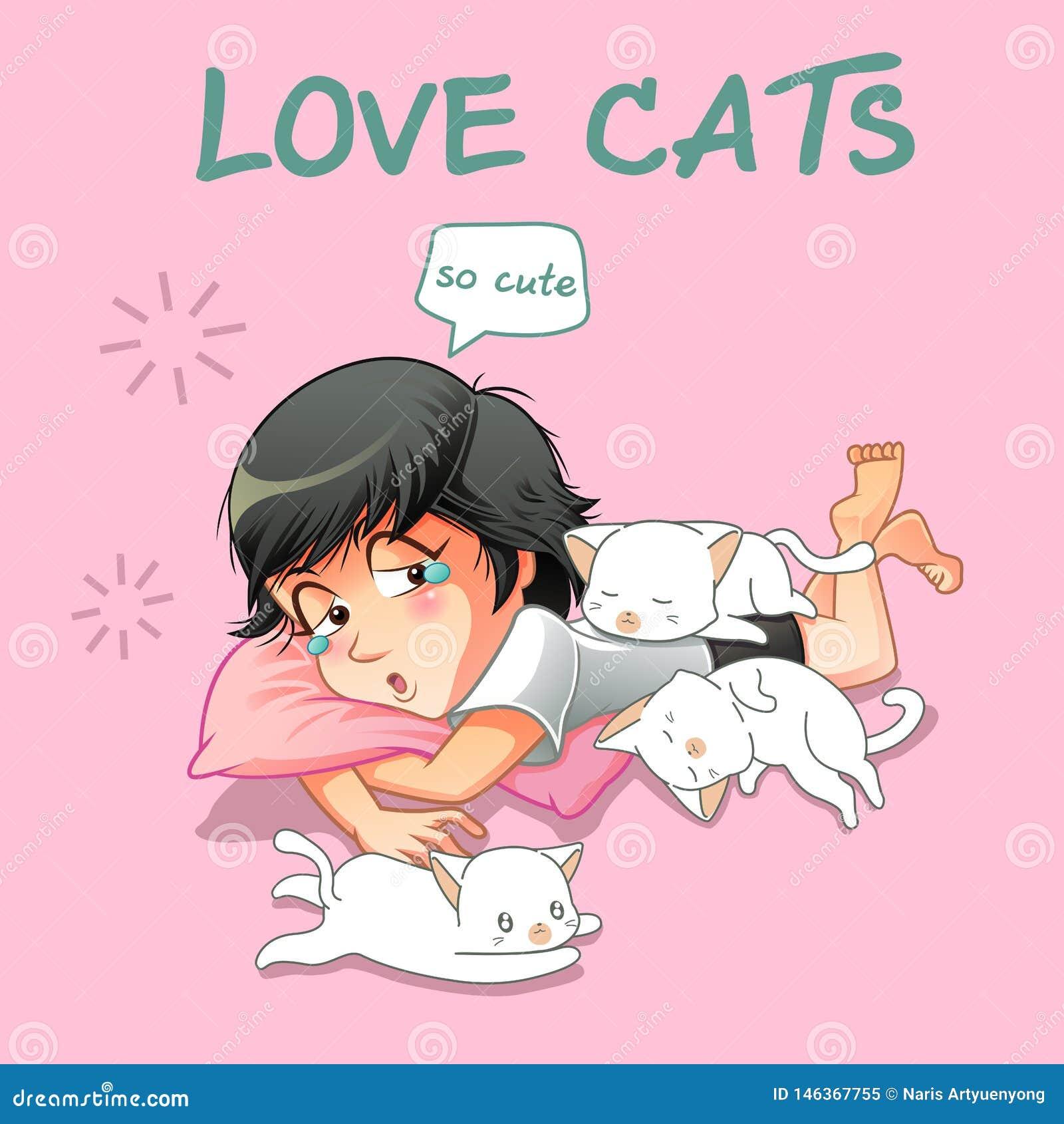 Elle aiment de petits chats