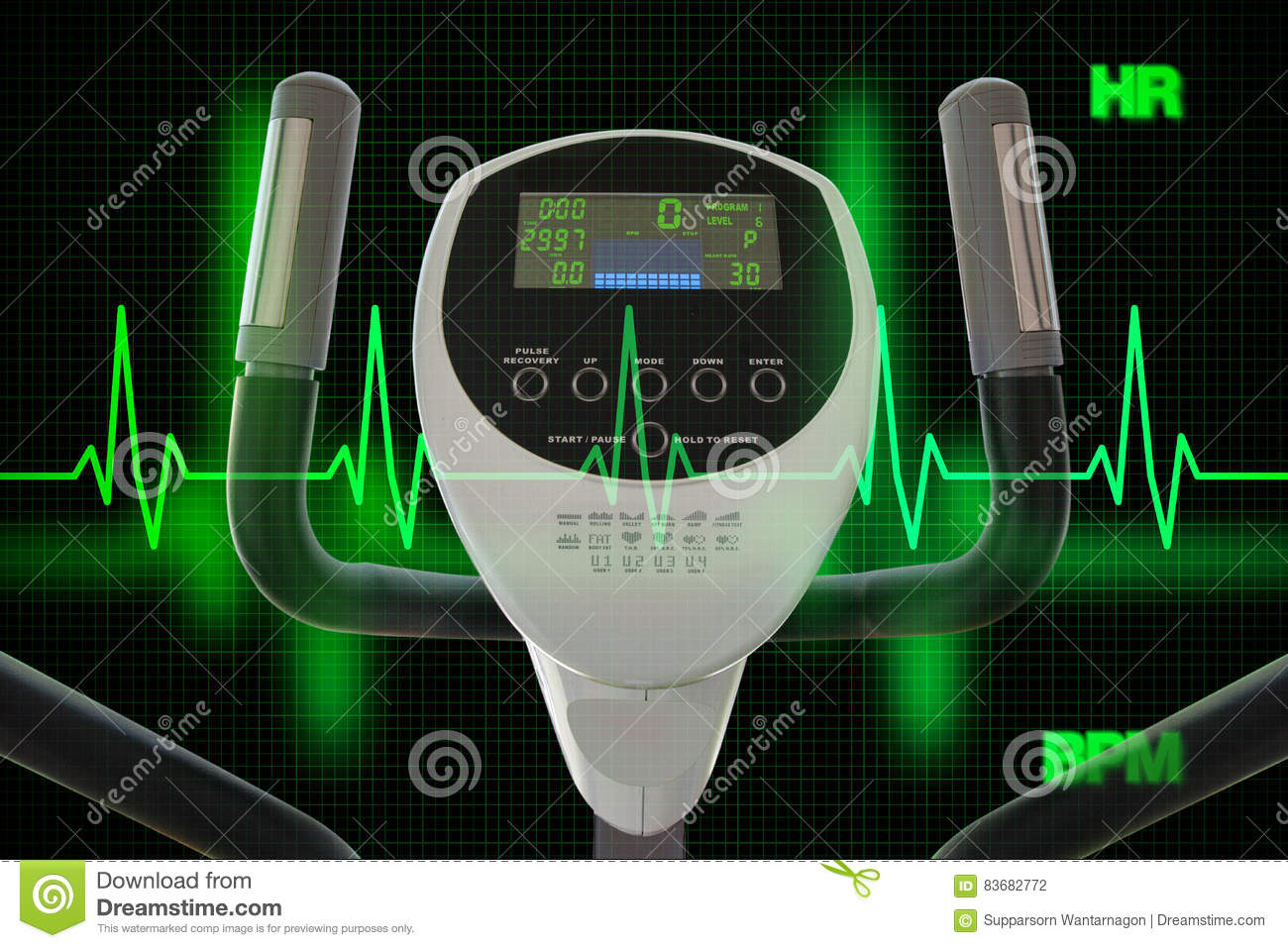 Elliptical Machine for Exercising with Heart Beat Diagram or Car