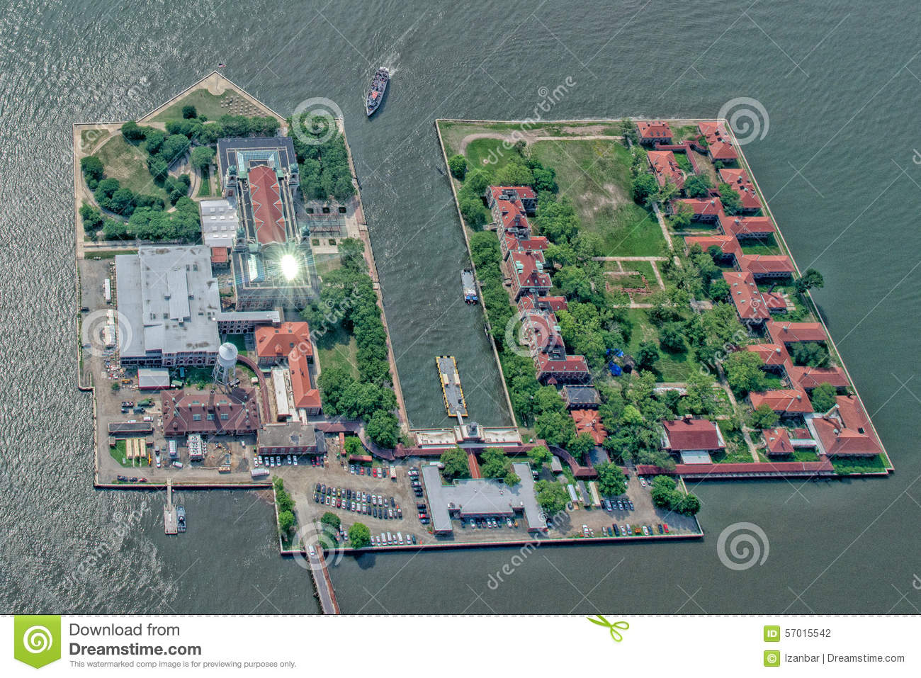Ellis Island In New York Aerial View Stock Photo Image - New york map ellis island